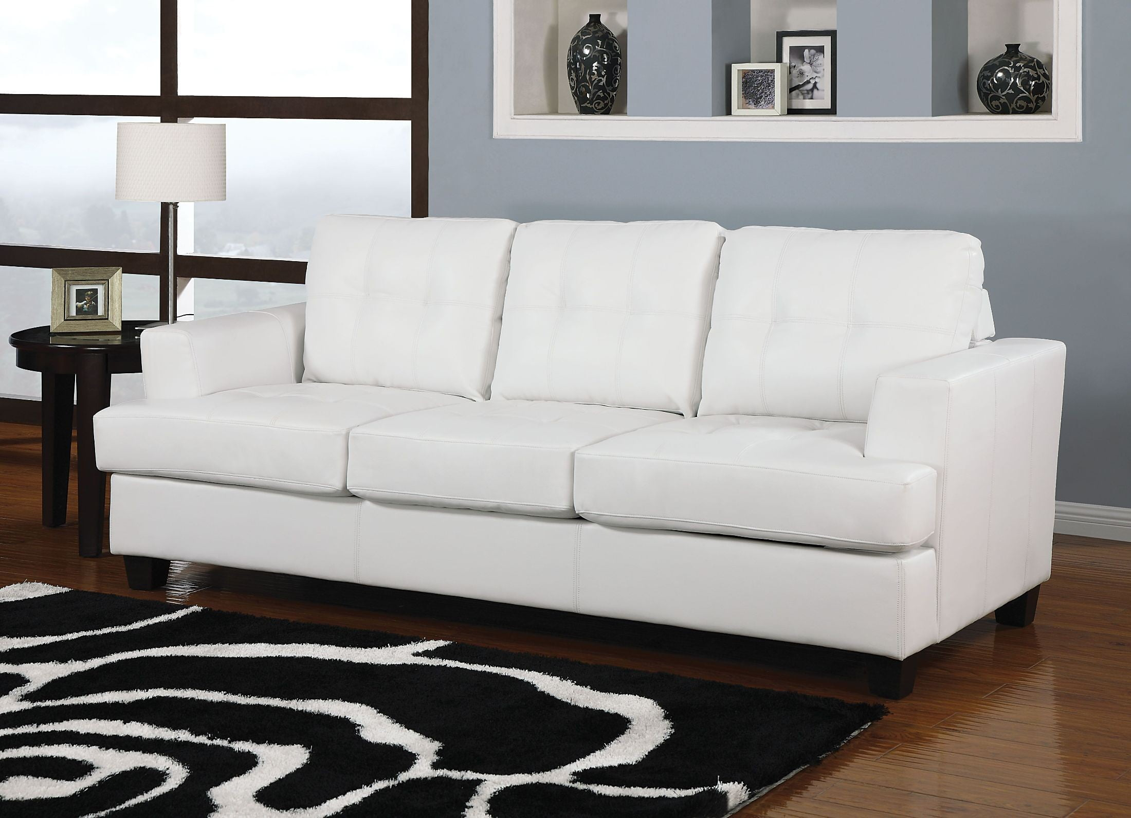 Platinum White Bonded Leather Living Room Set from Acme | Coleman ...