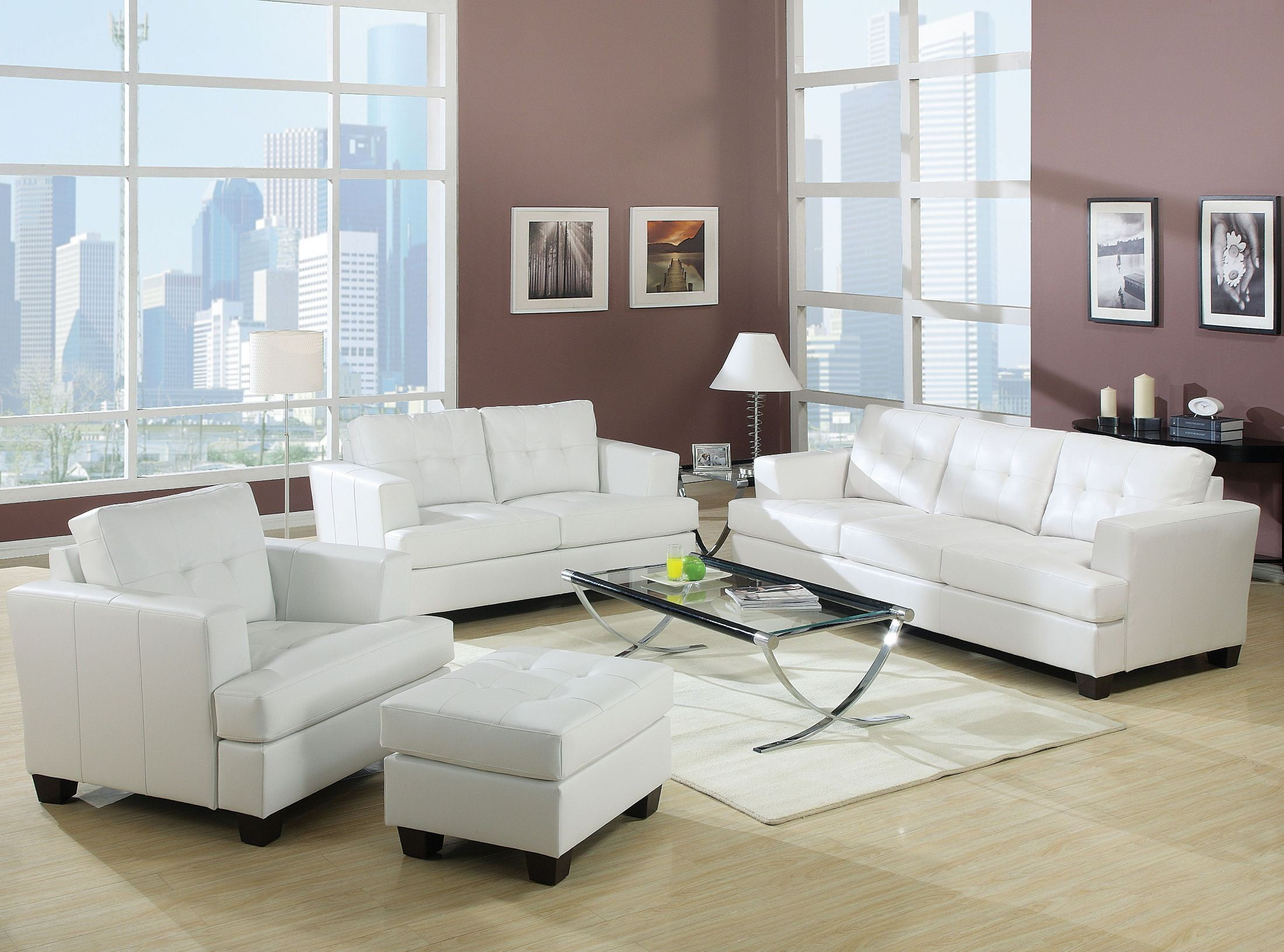 Platinum White Bonded Leather Living Room Set From Acme
