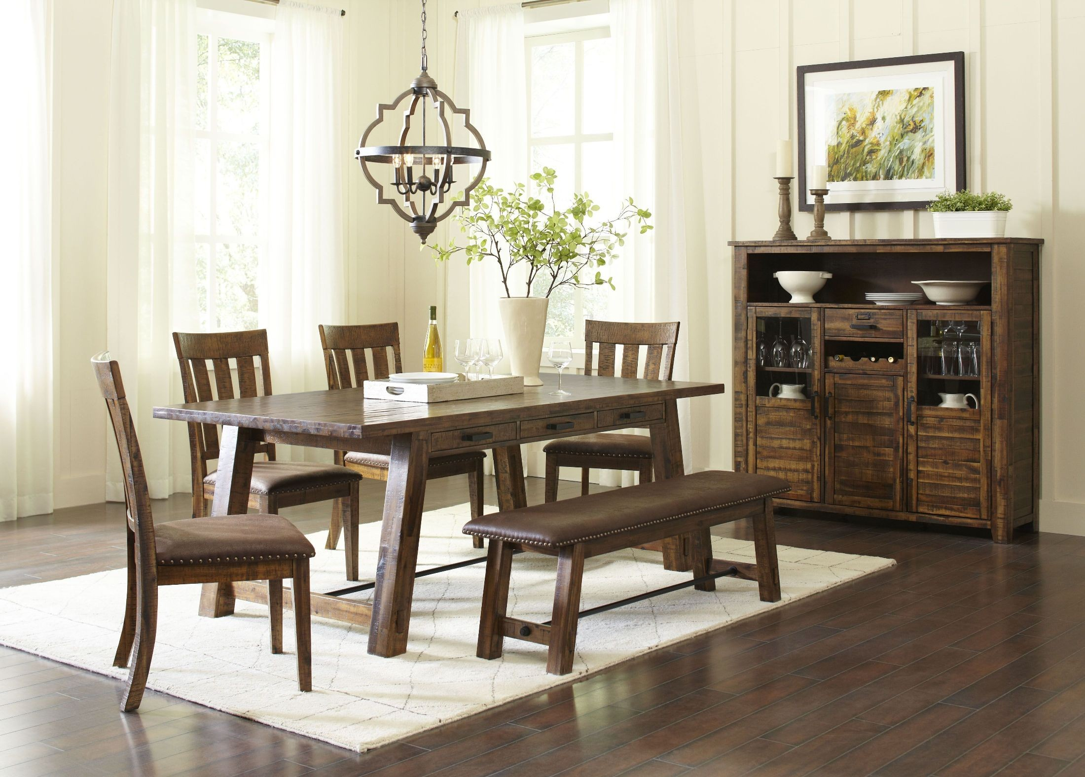 Cannon valley brown dining room set from jofran coleman for Brown dining room set