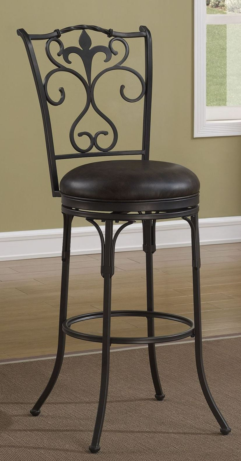 Fleur De Lis Back 30 Quot Metal Frame Stool From American