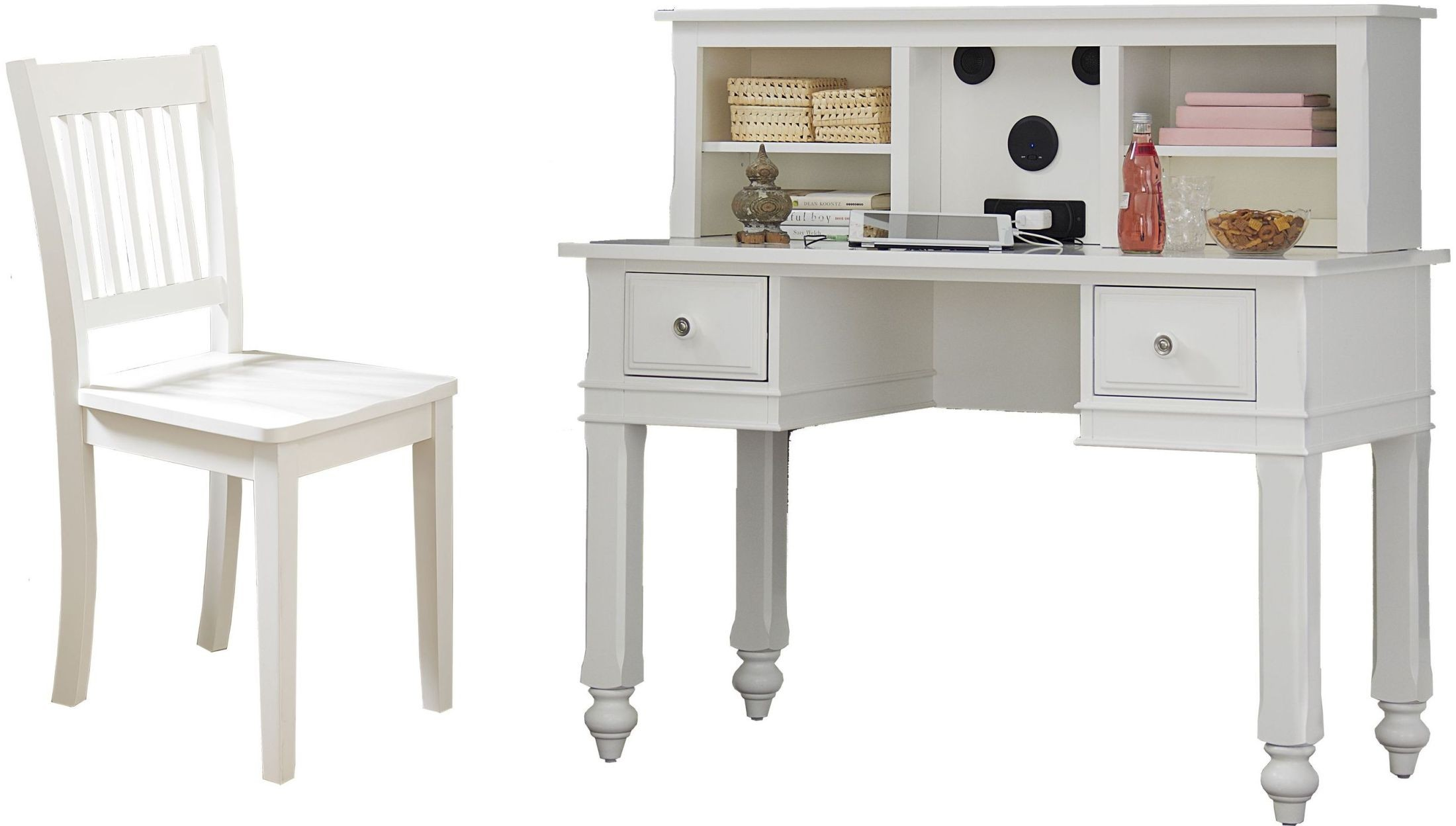Lake House White Writing Desk With Hutch & Chair From NE