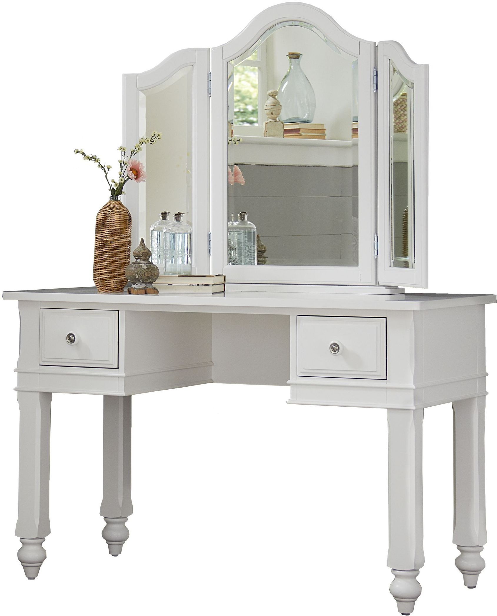 Lake House White Writing Desk With Vanity Mirror, 1540NDV