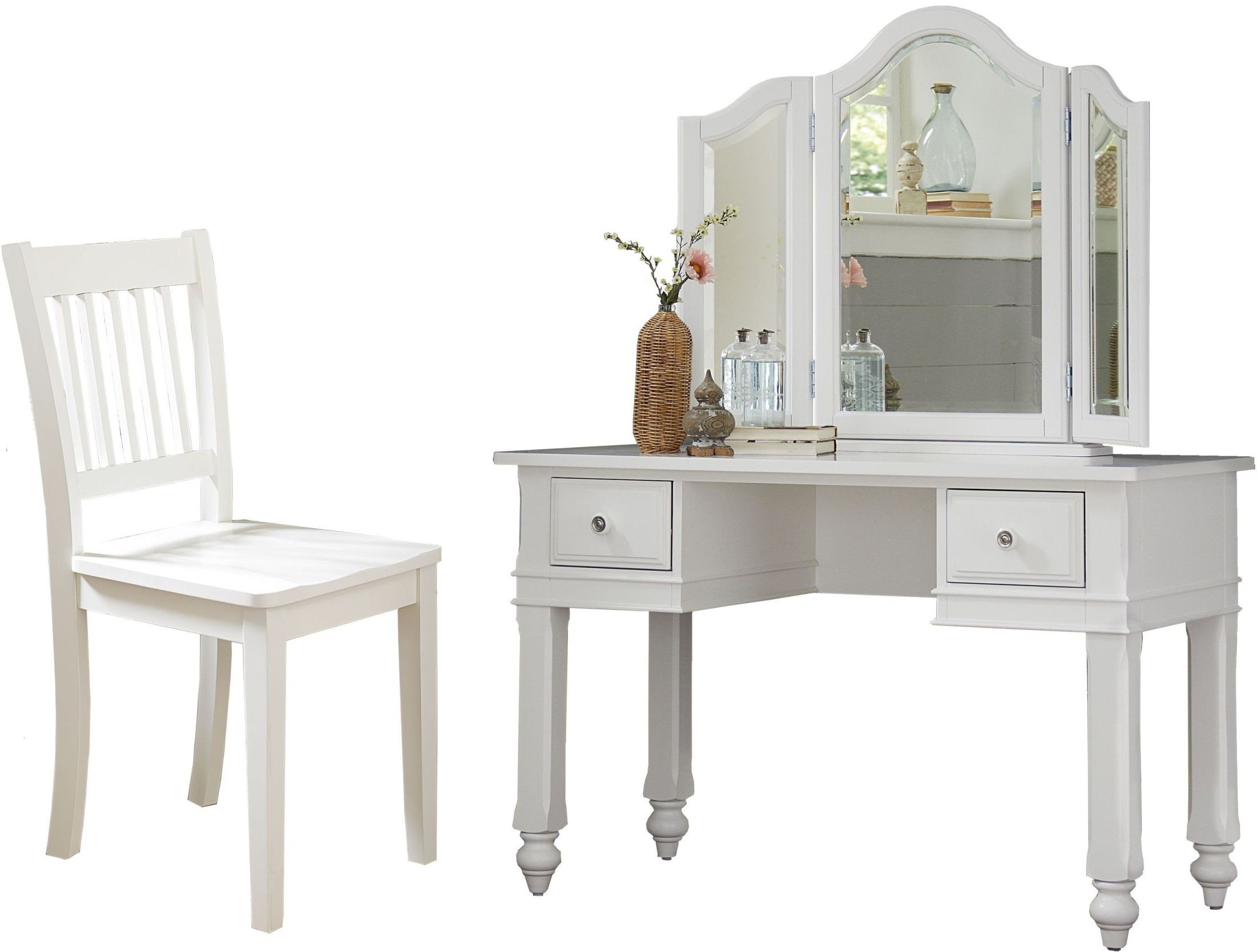 Lake House White Writing Desk with Vanity Mirror & Chair ...