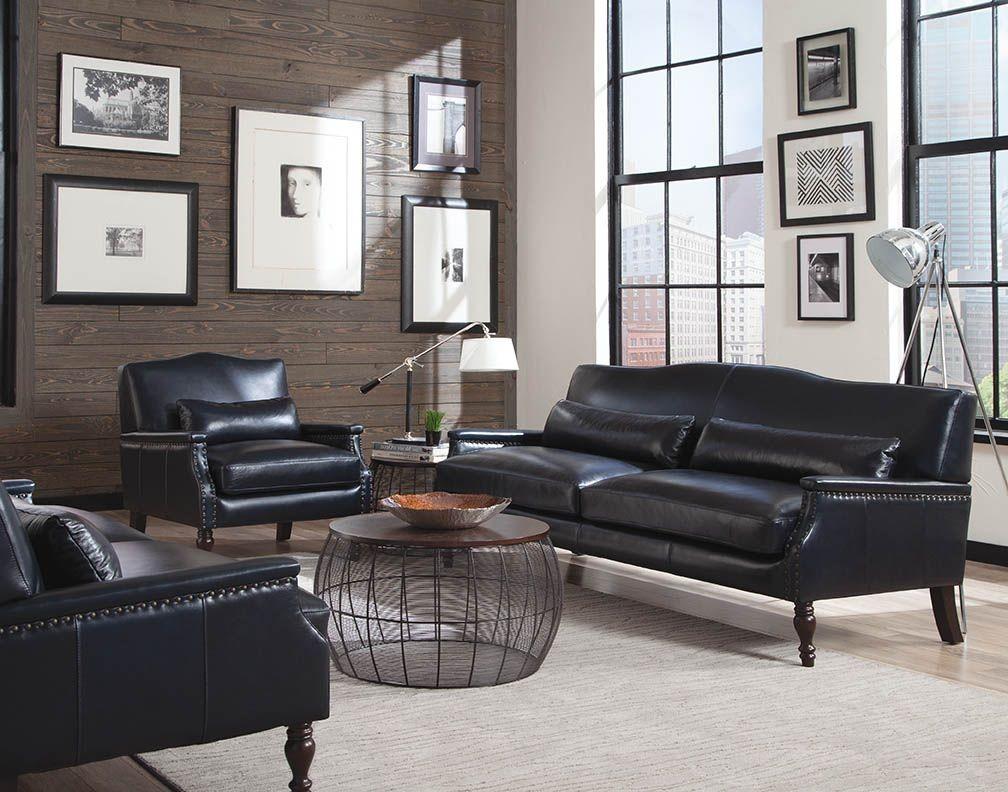 Felipe Regal Blue Leather Living Room Set From Lazzaro