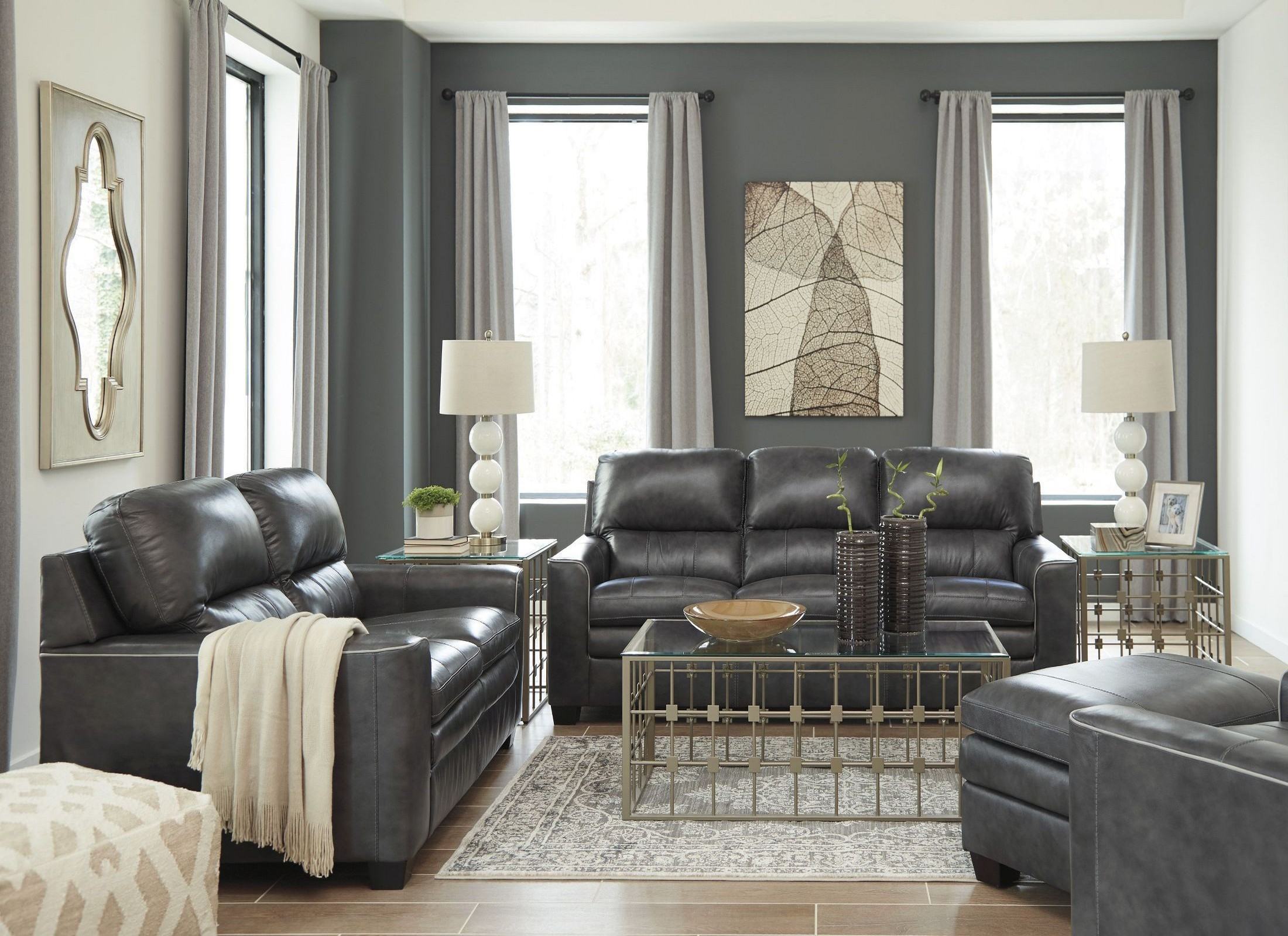 Gleason charcoal living room set from ashley coleman furniture for Charcoal living room furniture