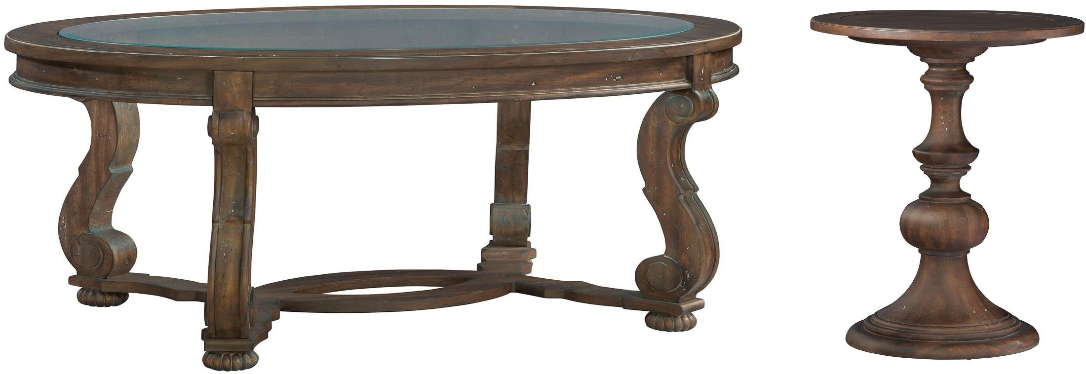 Napa valley brown oval glass top occasional table set from for Glass top occasional tables