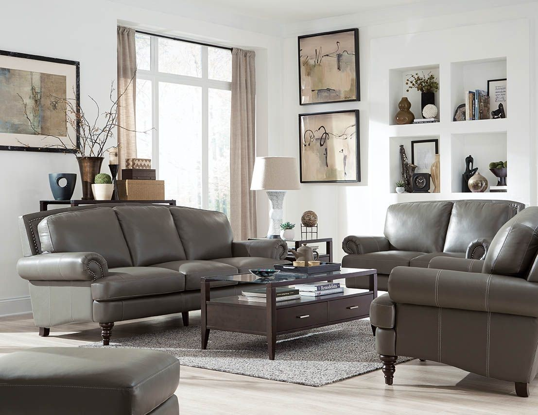 Juliette Battleship Grey Leather Living Room Set From