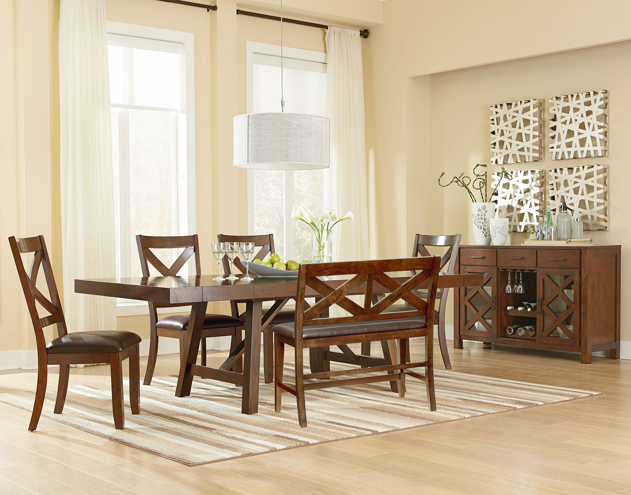 Omaha Burnished Saddle Brown Trestle Extendable Table From
