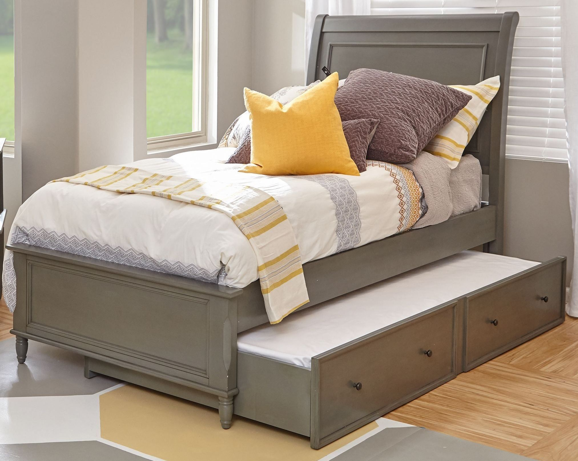 Avignon Grey Twin Panel Bed With Trundle Bed From Jofran
