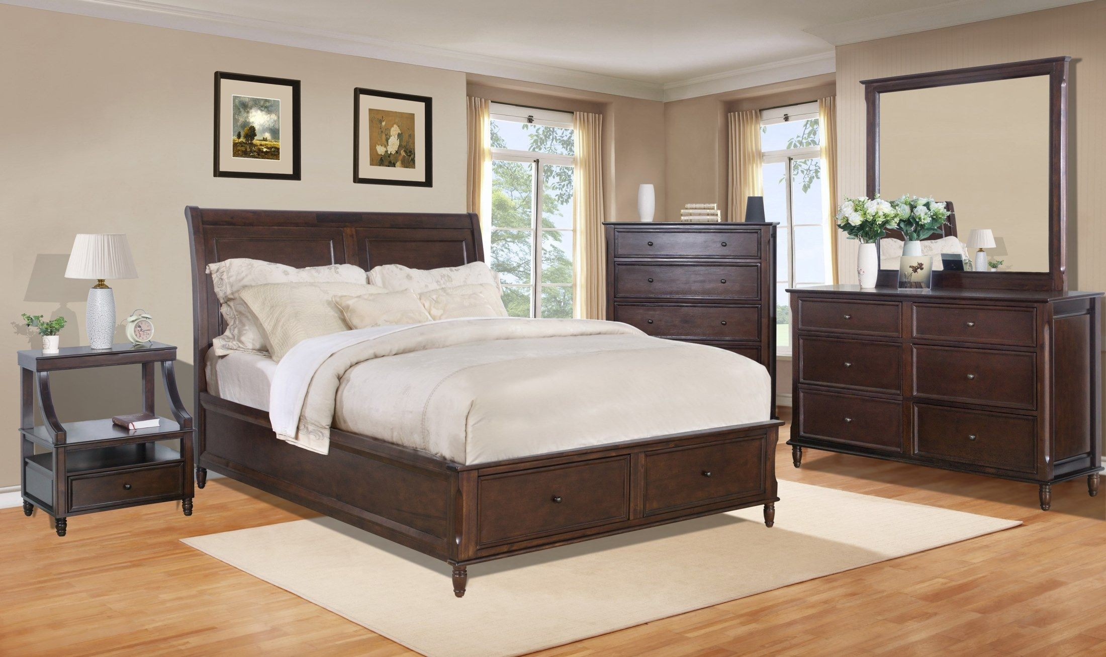 Avignon Birch Cherry Storage Bedroom Set from Jofran | Coleman ...