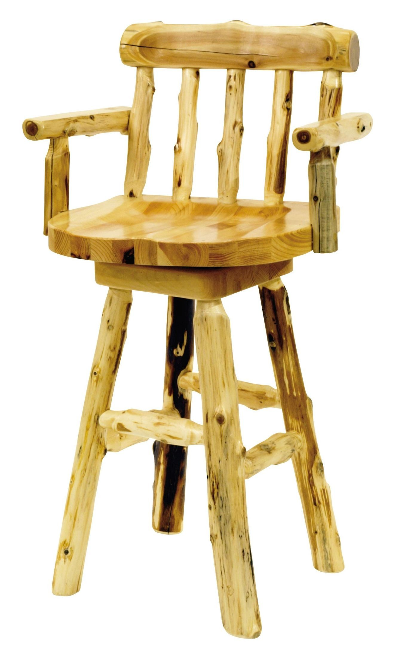 Cedar 24 Quot Log Counter Stool With Arms From Fireside Lodge