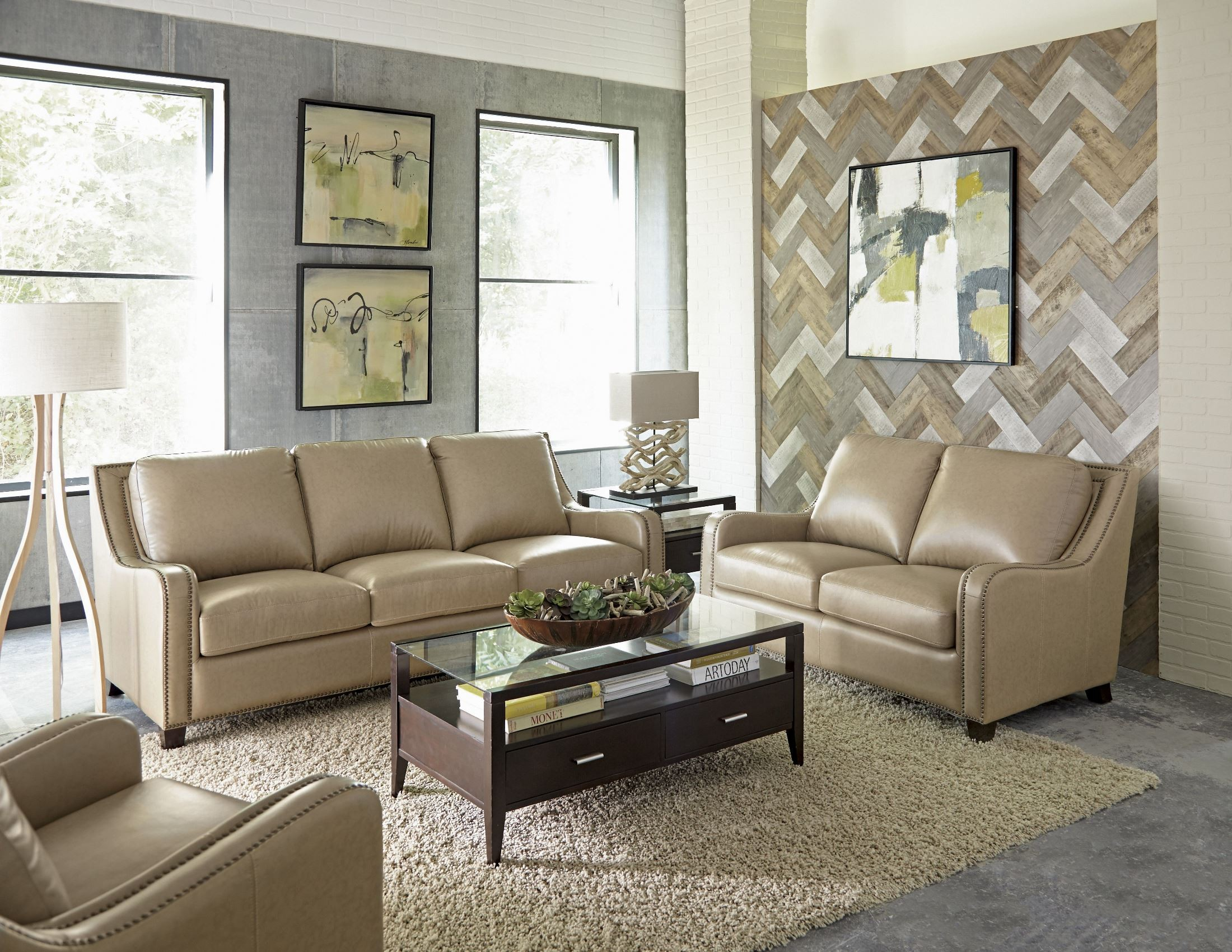 Denver Buckskin Leather Living Room Set From Lazzaro Coleman Furniture