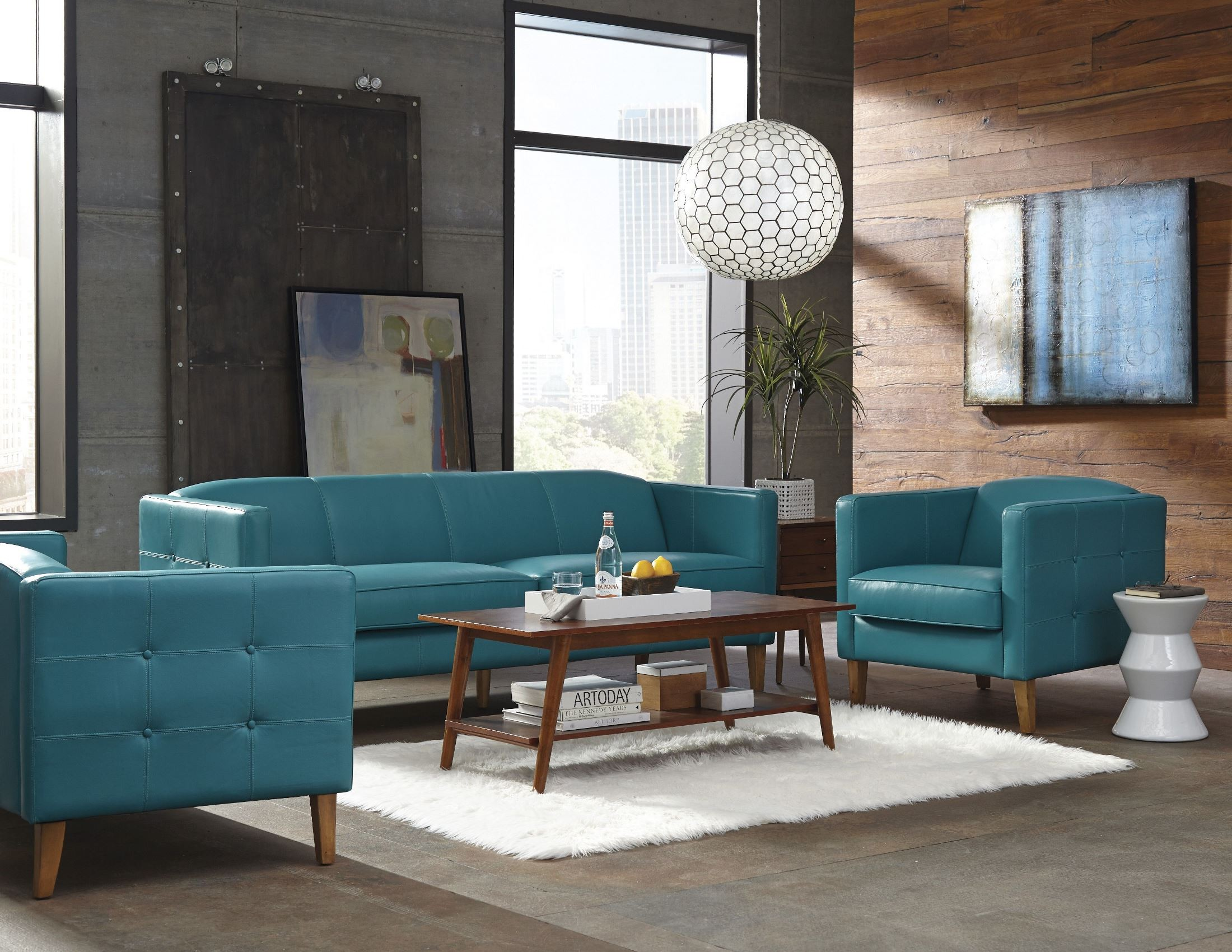 Miami Teal Leather Living Room Set From Lazzaro Coleman Furniture