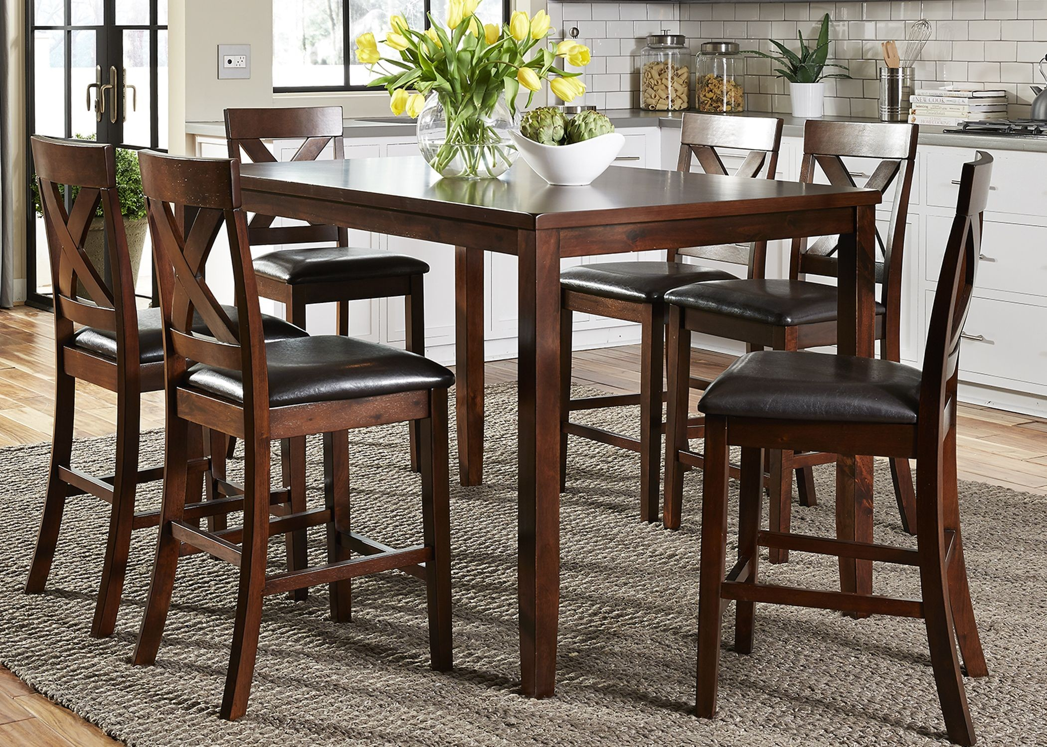Thornton russet 7 piece gathering dining room set from for 7 piece dining room set