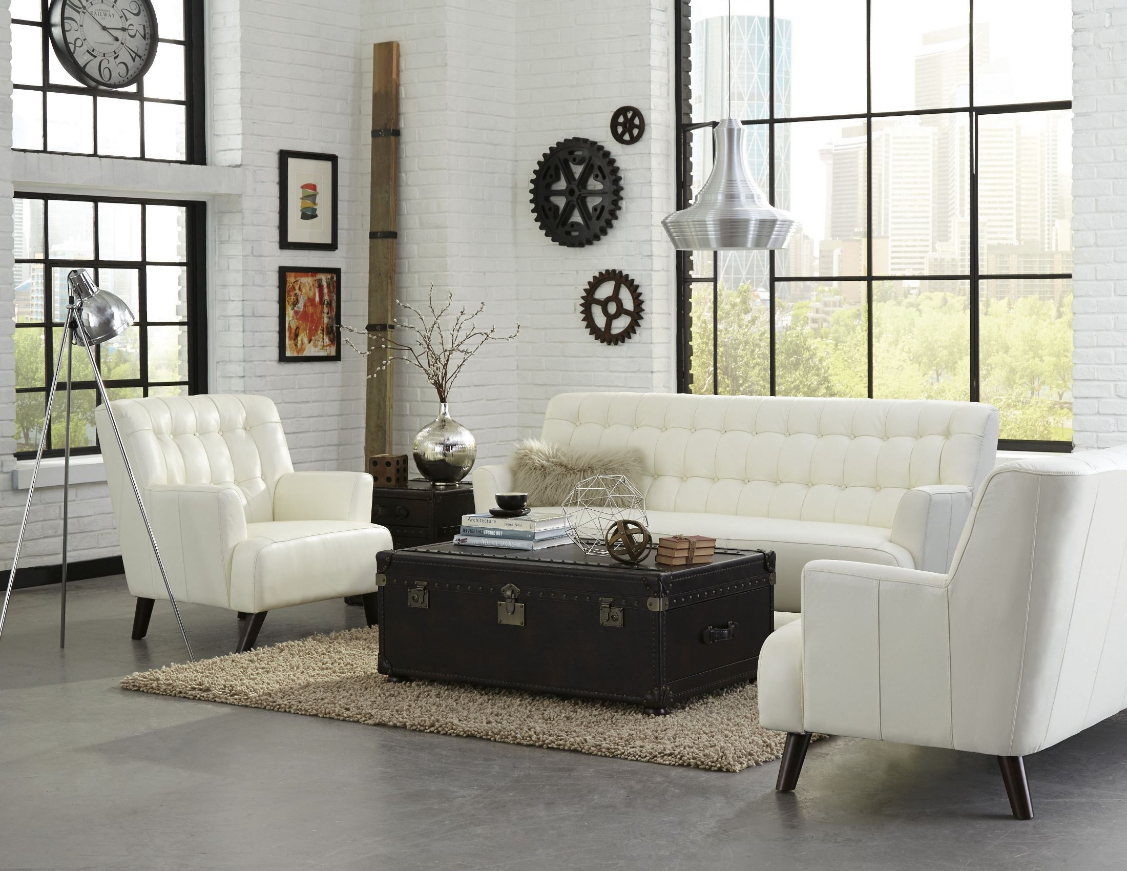 New York White Leather Living Room Set From Lazzaro