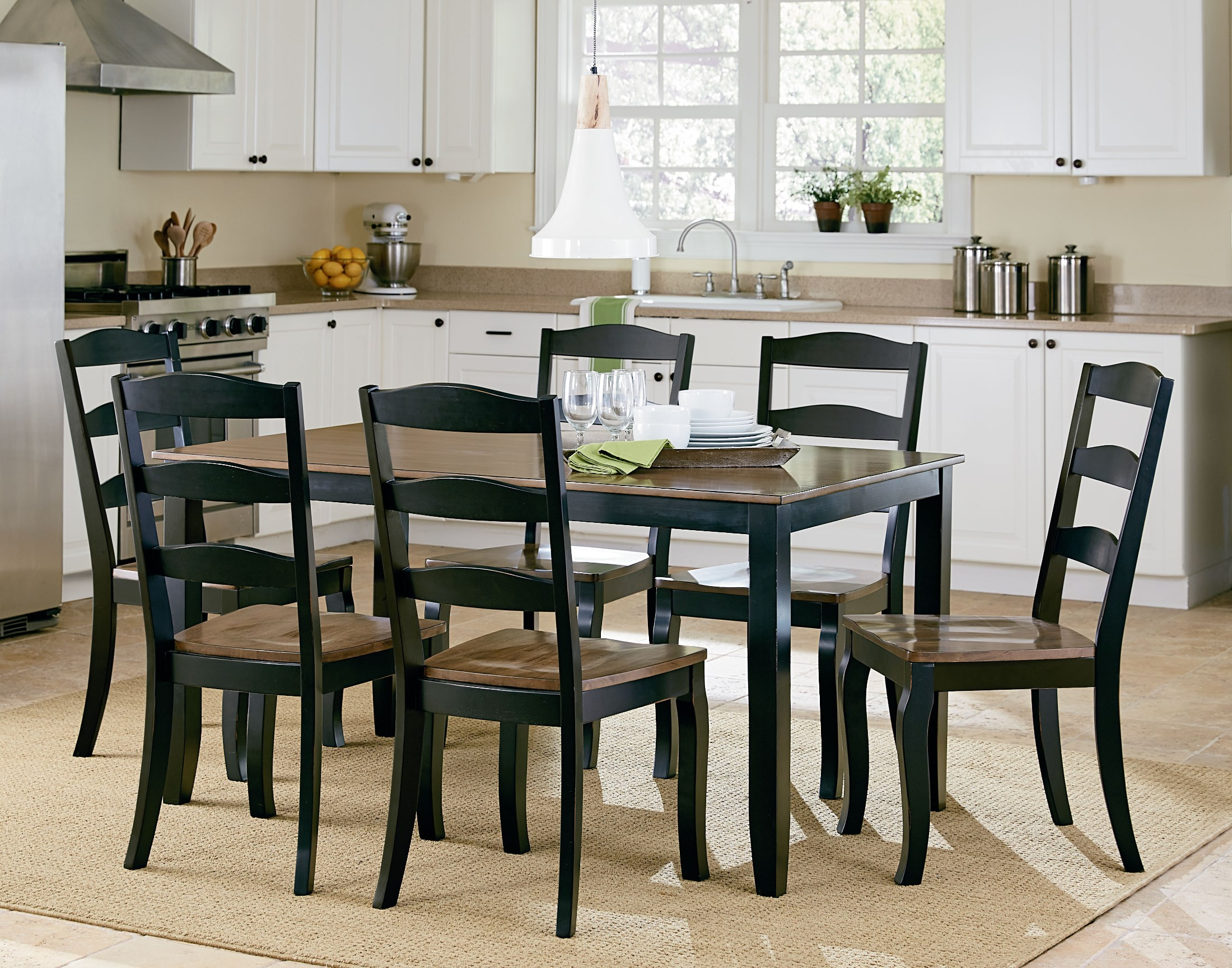 black 7 piece dining room set | Highland Brown and Black 7 piece Dining Room Set, 16542 ...