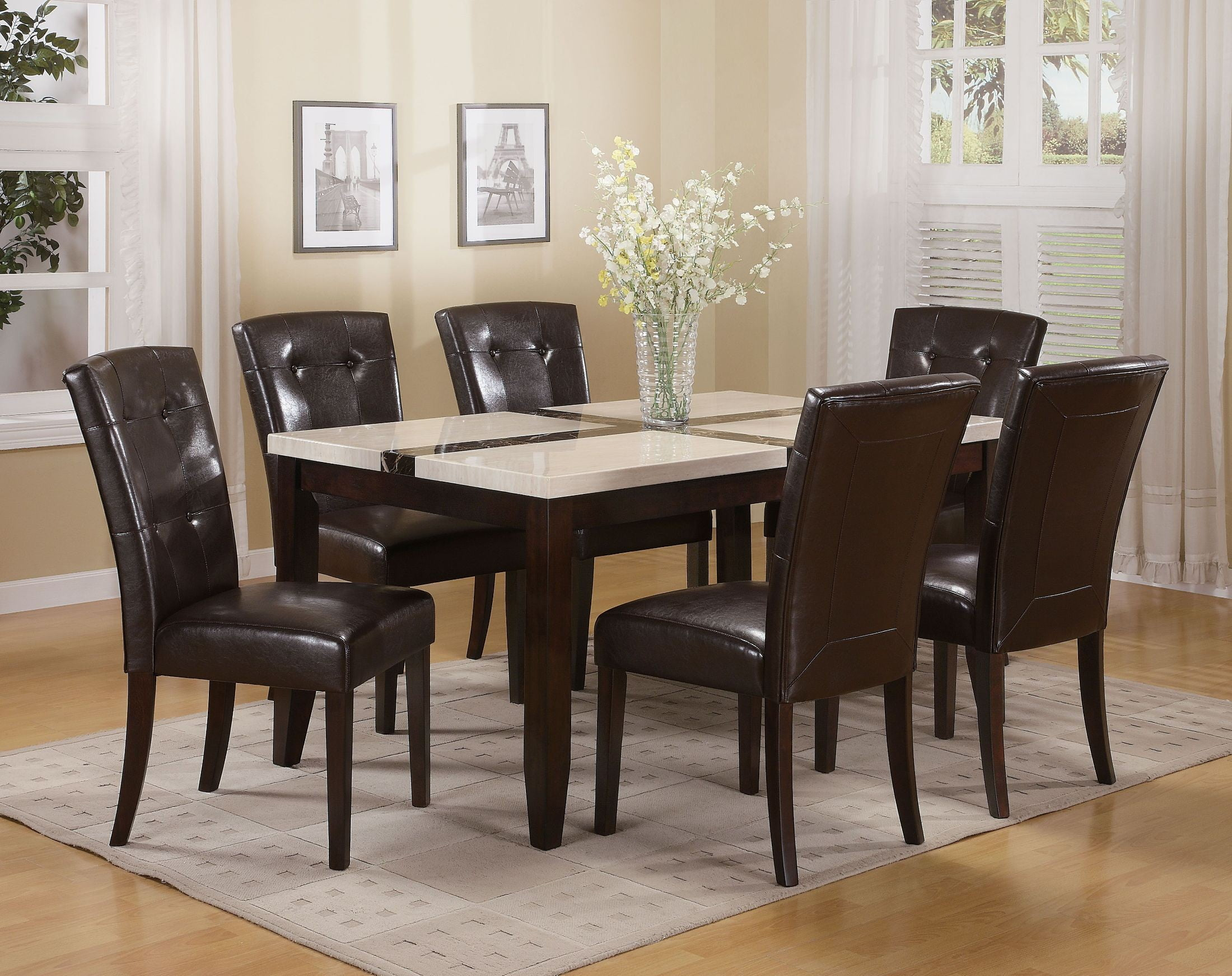Justin White Faux Marble And Walnut Dining Room Set From