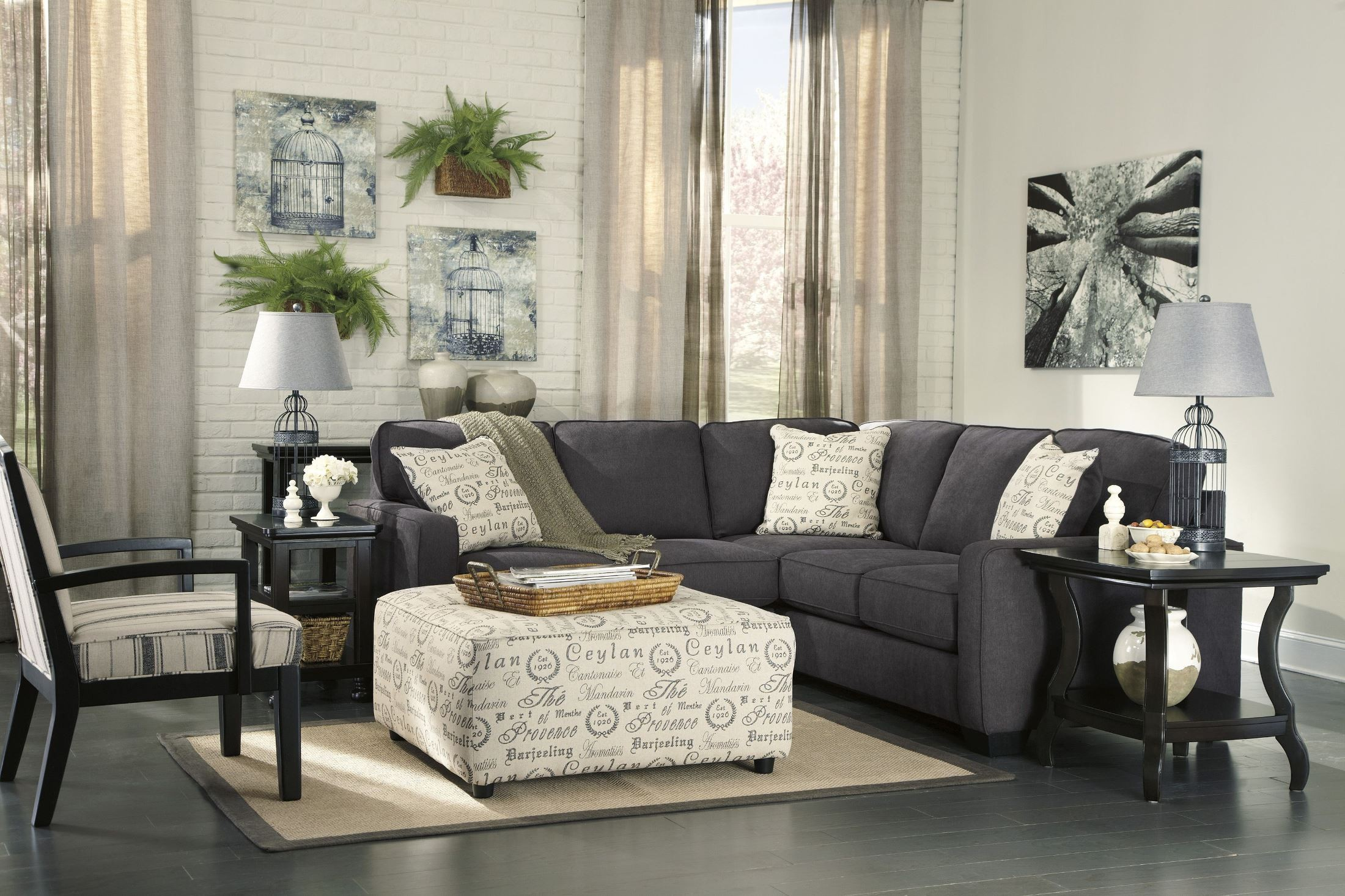 Alenya Charcoal Laf Sectional From Ashley 16601 55 67