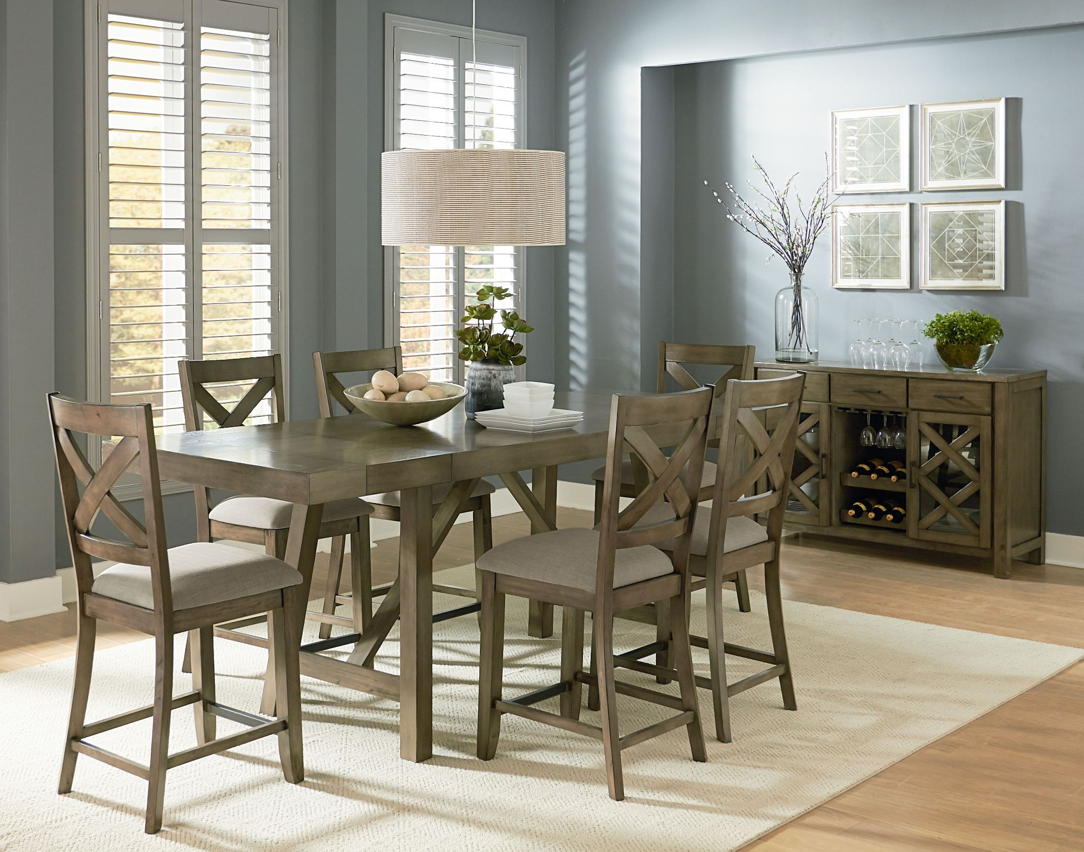 Omaha weathered burnished gray extendable counter height for Dining set decoration