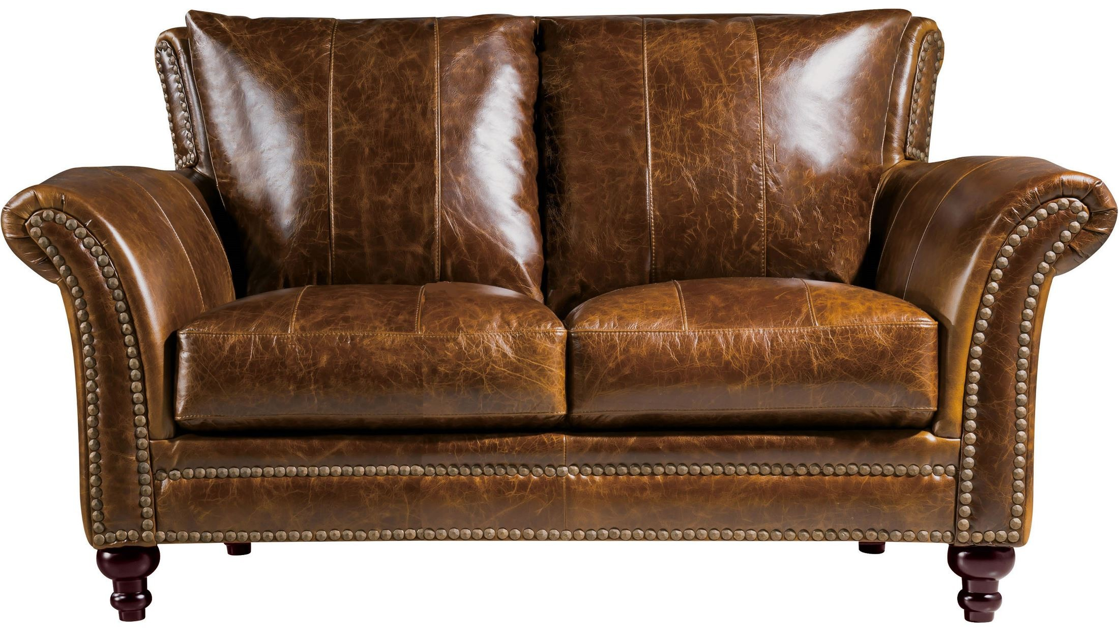 Georgetowne Butler Brown Leather Loveseat From Luxe