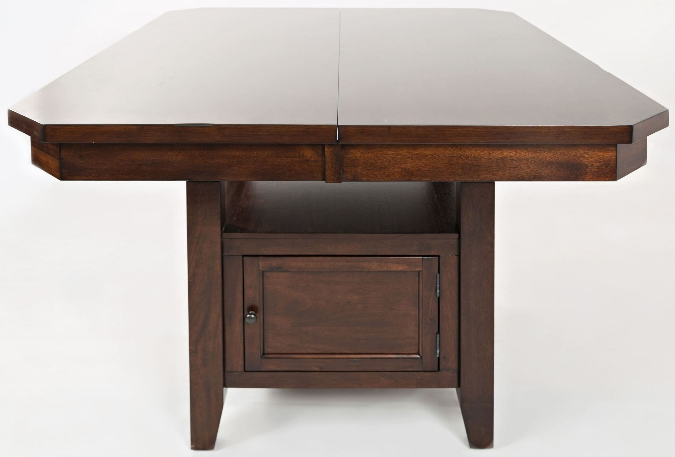 Manchester storage adjustable dining table from jofran for Dining table shelf