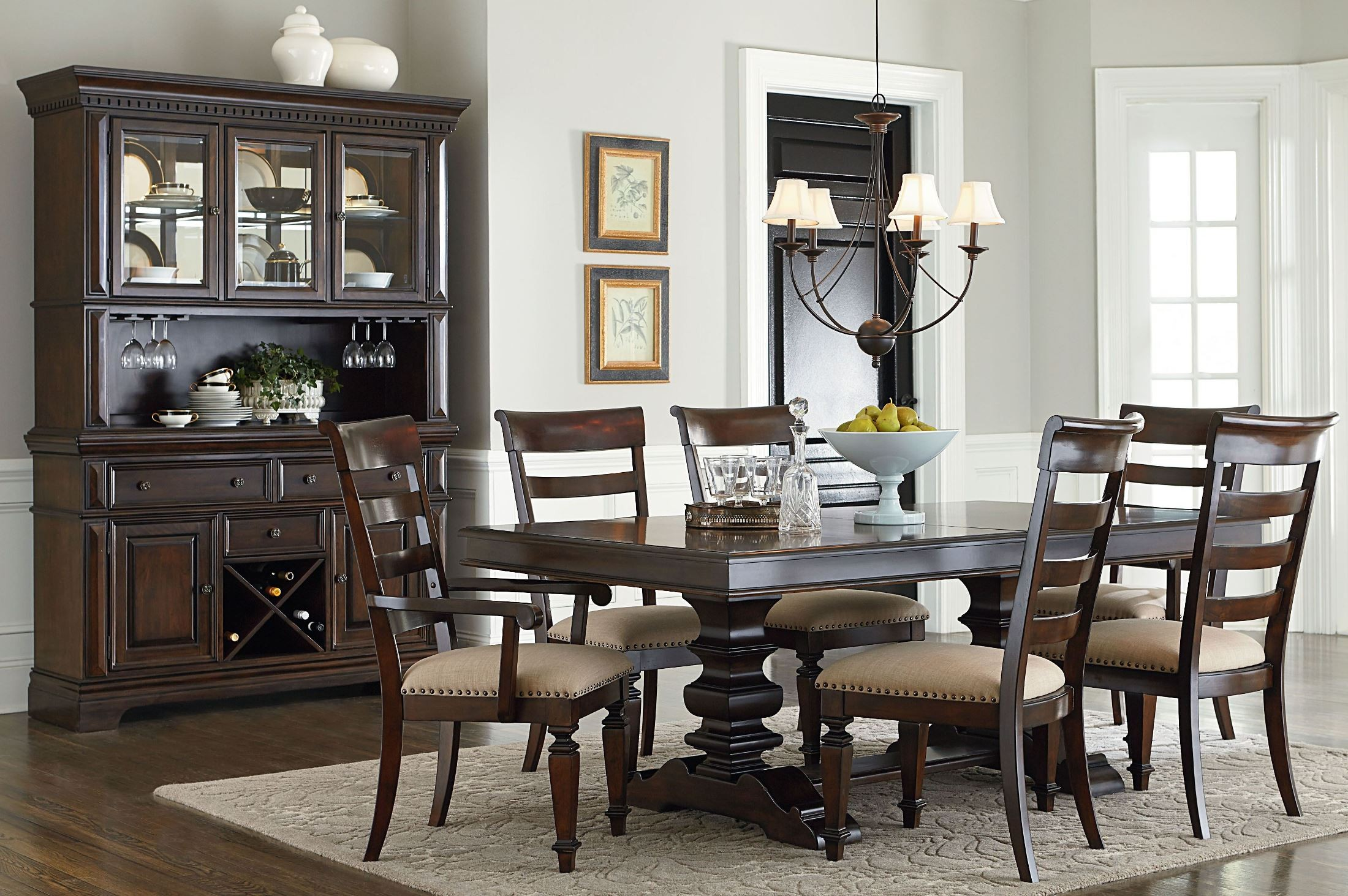 Charleston Tobacco Brown Extendable Trestle Dining Room Set