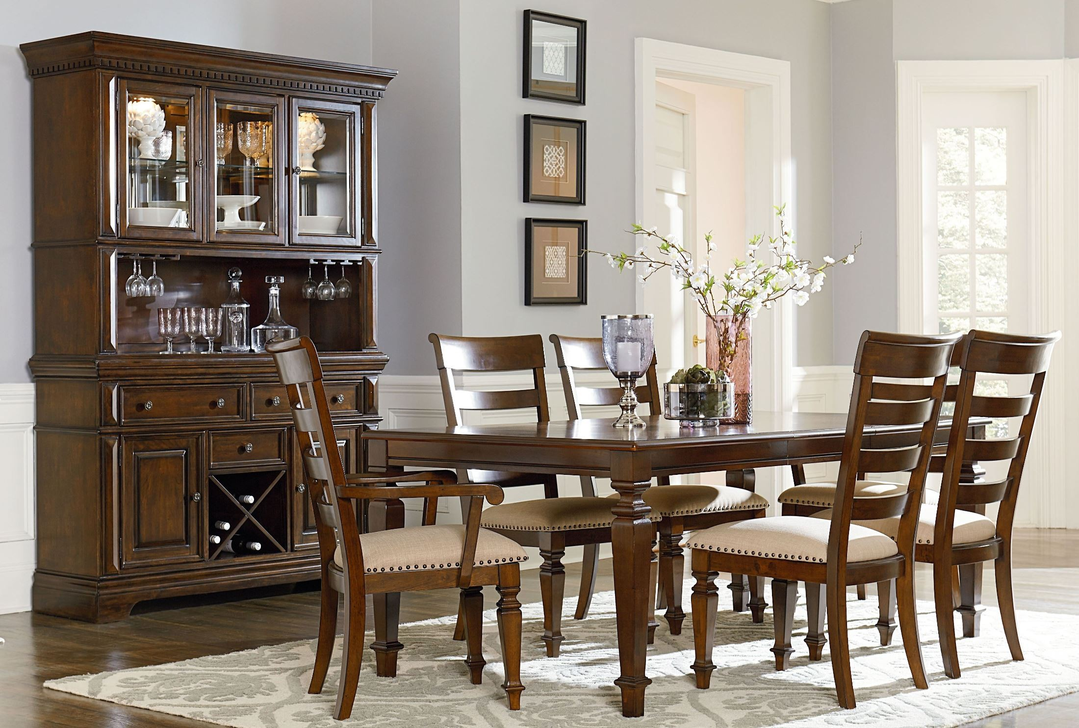 Charleston tobacco brown extendable rectangular leg dining for Brown dining room set