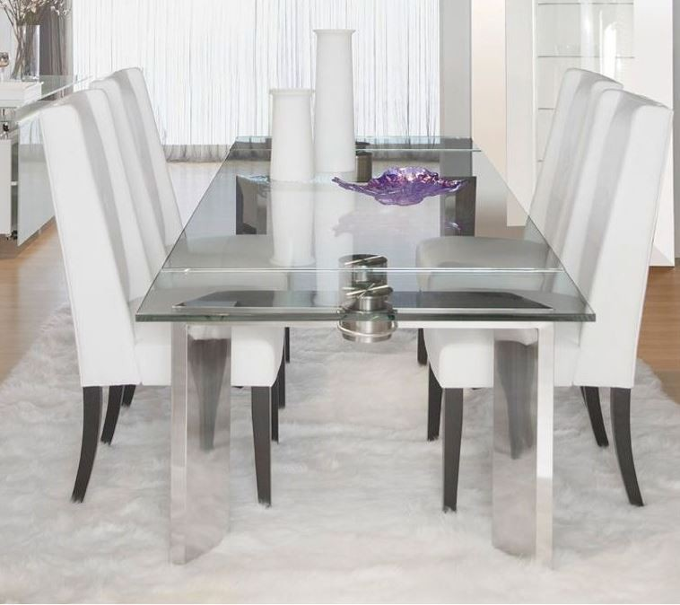 stainless steel dining room chairs | Ritz Mo Stainless Steel Rectangular Extendable Dining Room ...