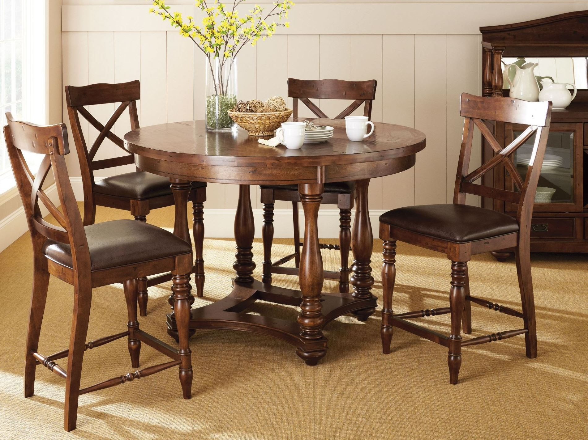 Wyndham medium cherry counter height dining room set from for Cherry dining room set
