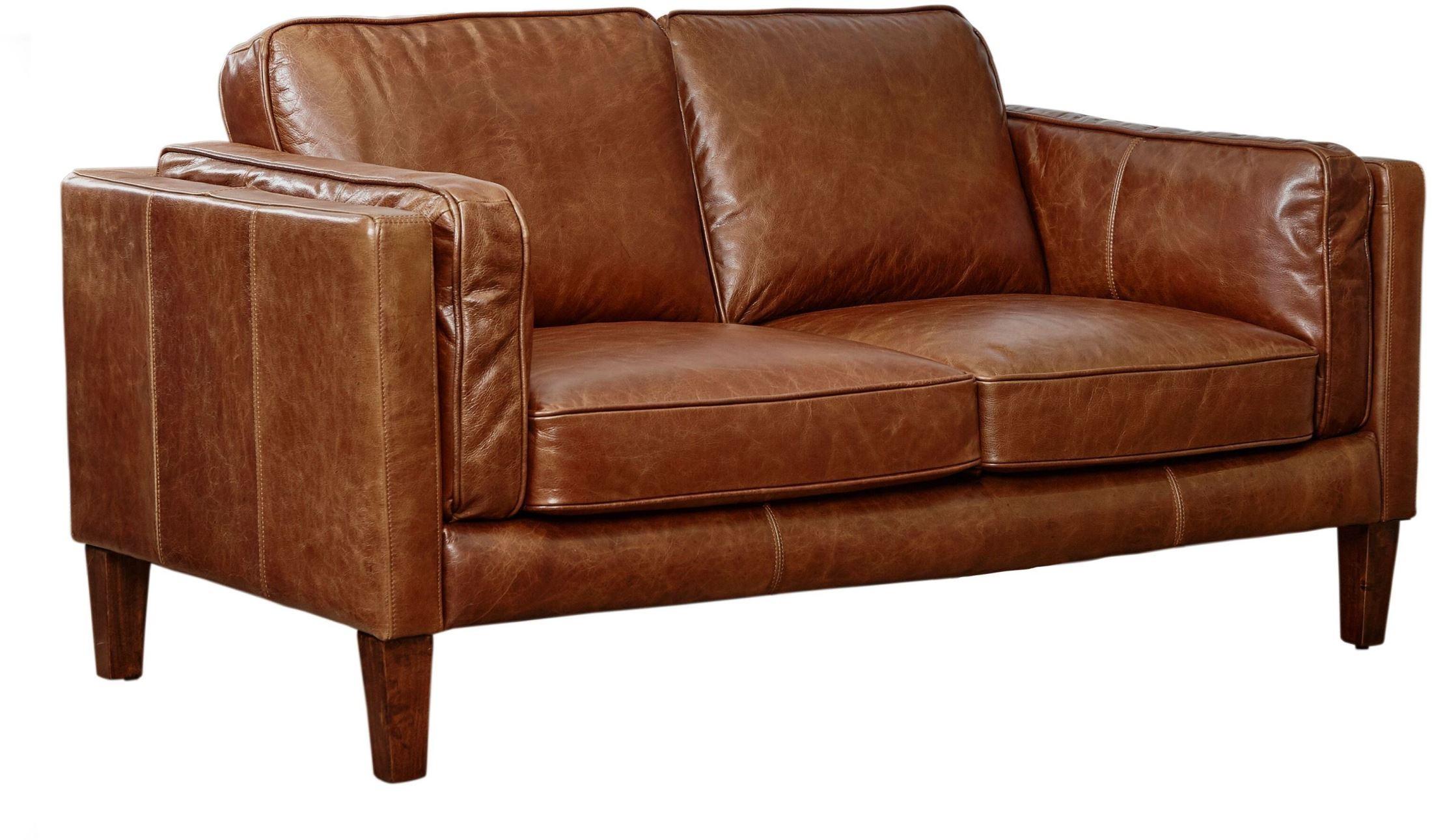 Berkley Cocoa Brompton Vintage Leather Loveseat From