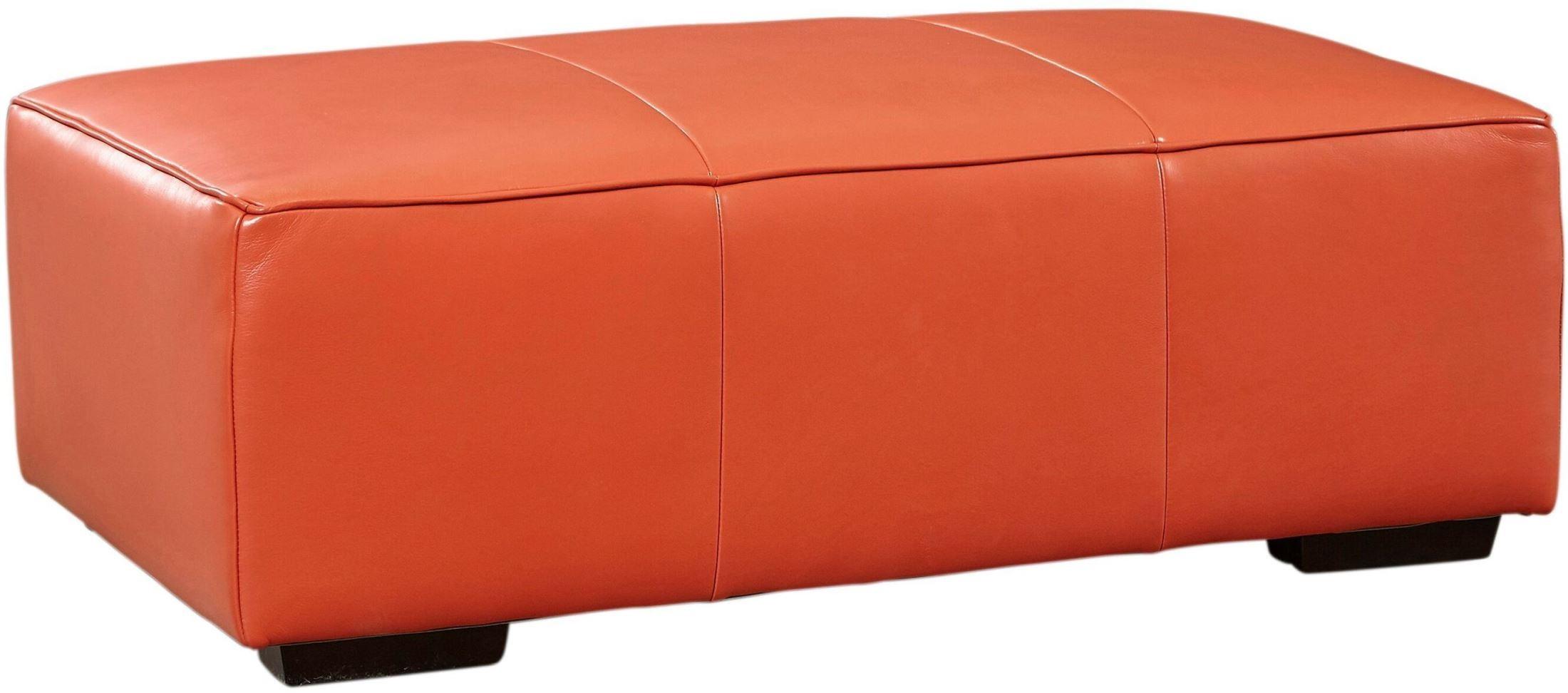Hayden Tangerine Top Grain Leather Bench Ottoman From Lazzaro Coleman Furniture