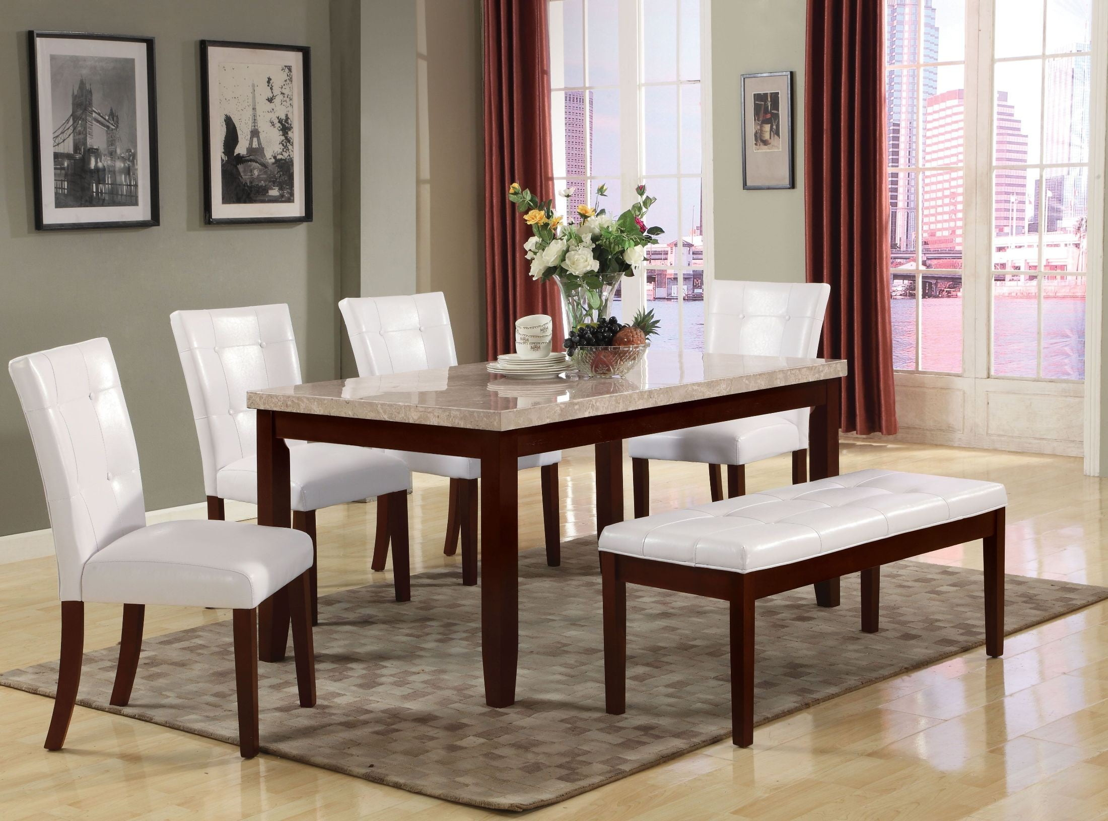 britney white marble dining room set with white side chairs from acme coleman furniture. Black Bedroom Furniture Sets. Home Design Ideas