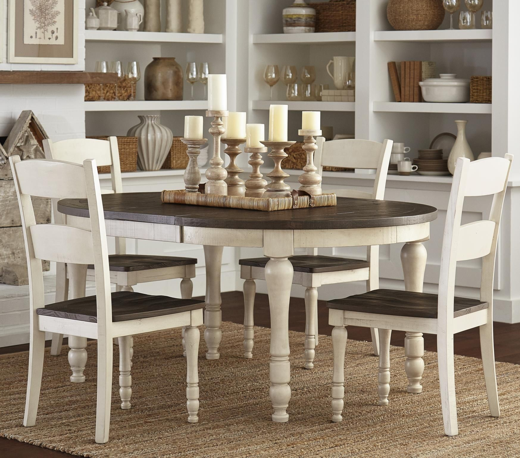 Madison County Vintage White Extendable Round Dining Room Set From