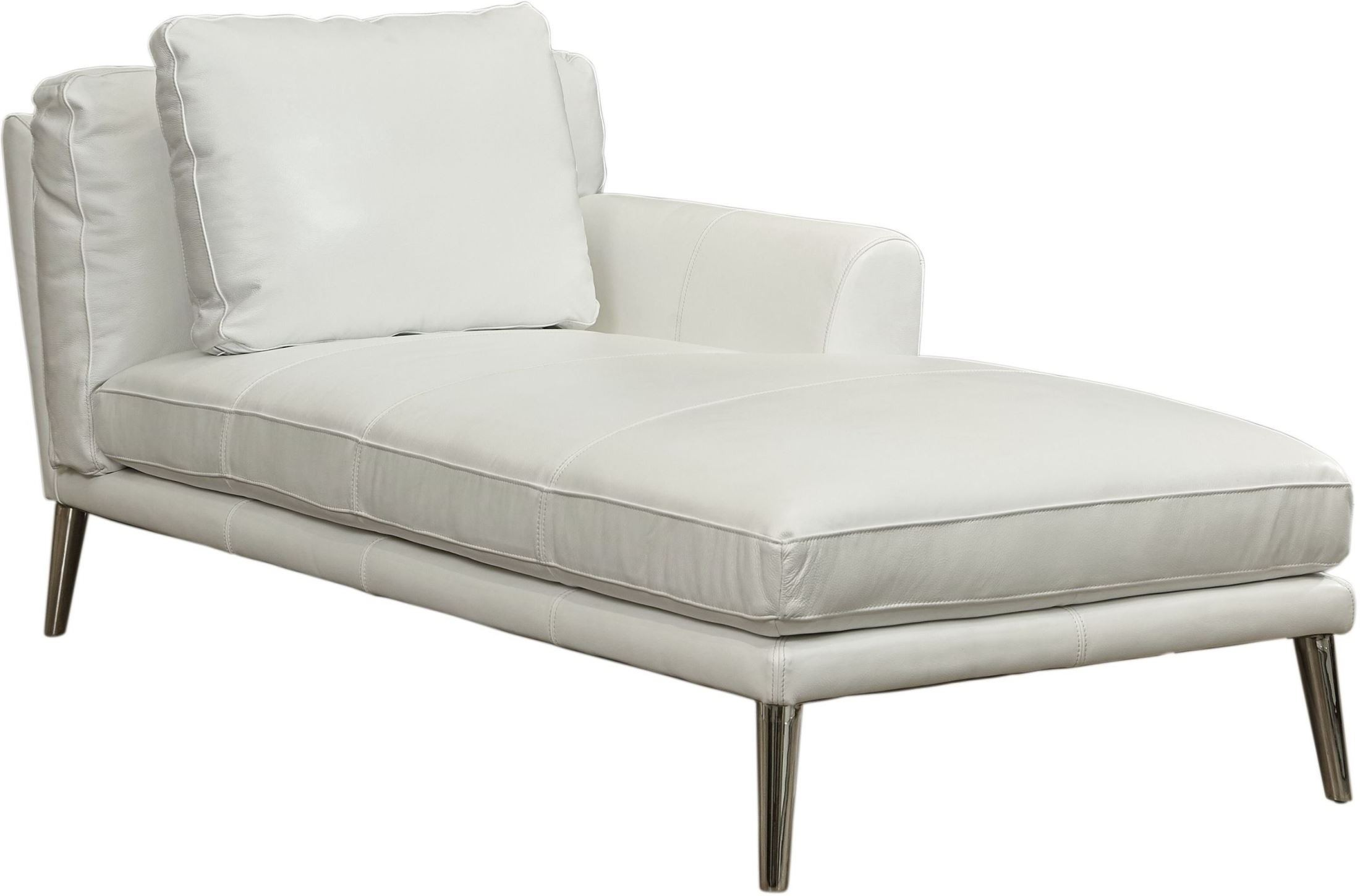 Bali Pure White Top Grain Leather Raf Chaise From Lazzaro