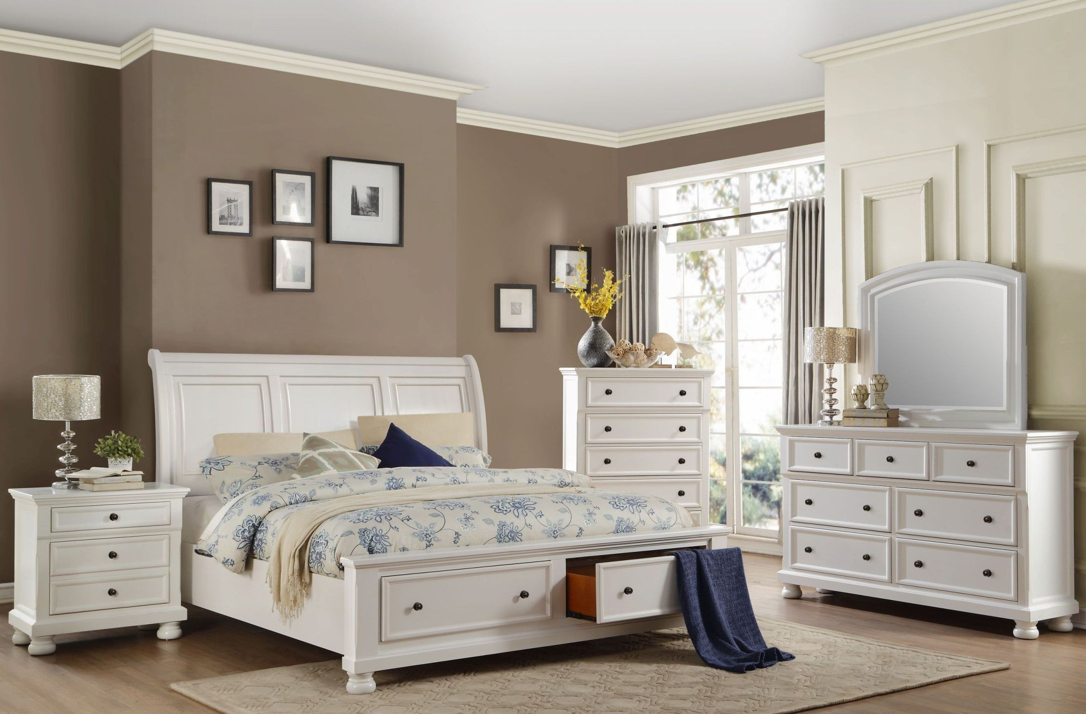 Laurelin white sleigh storage bedroom set from homelegance for White bedroom set with storage