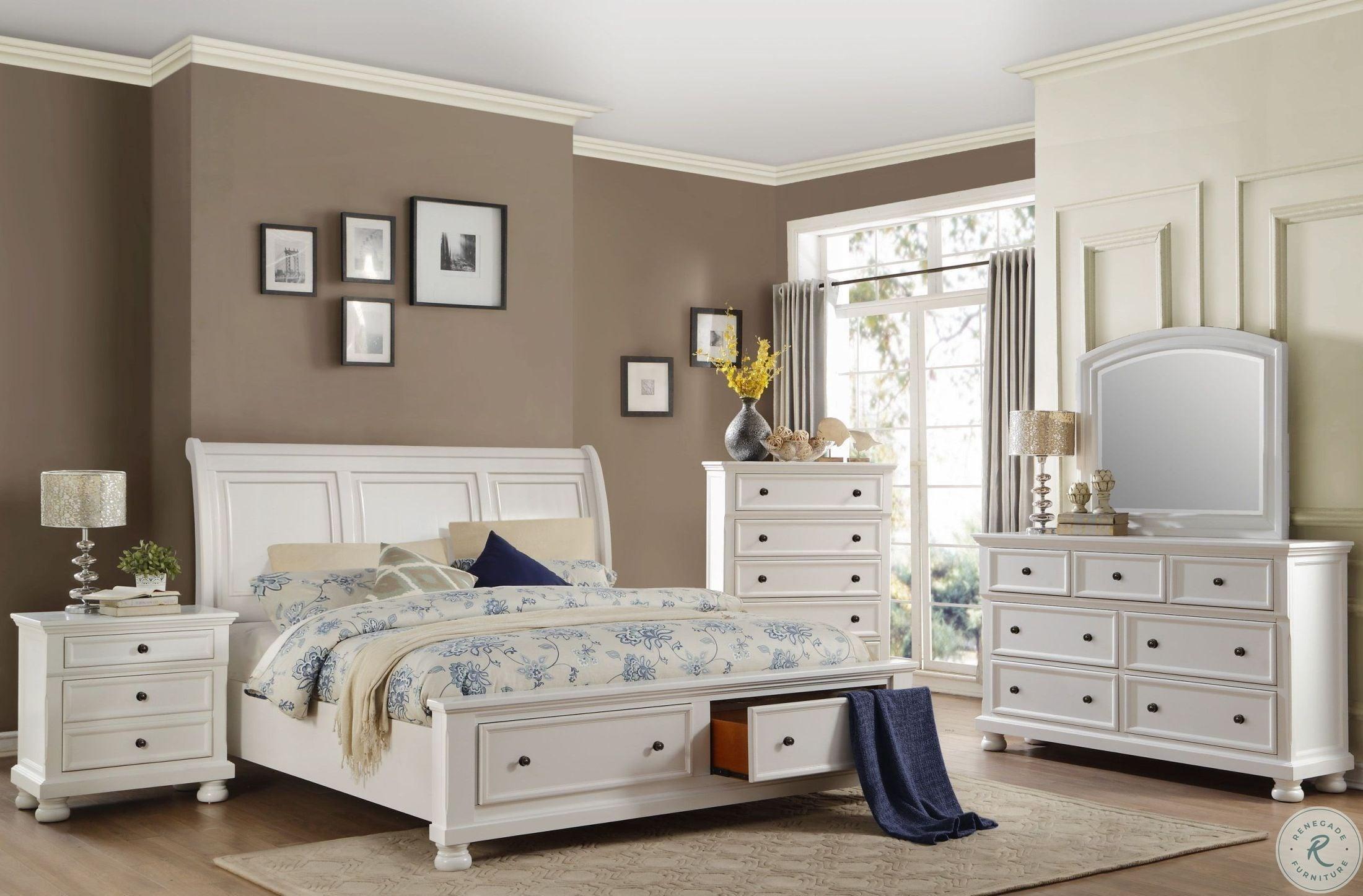 Laurelin White Sleigh Storage Bedroom Set