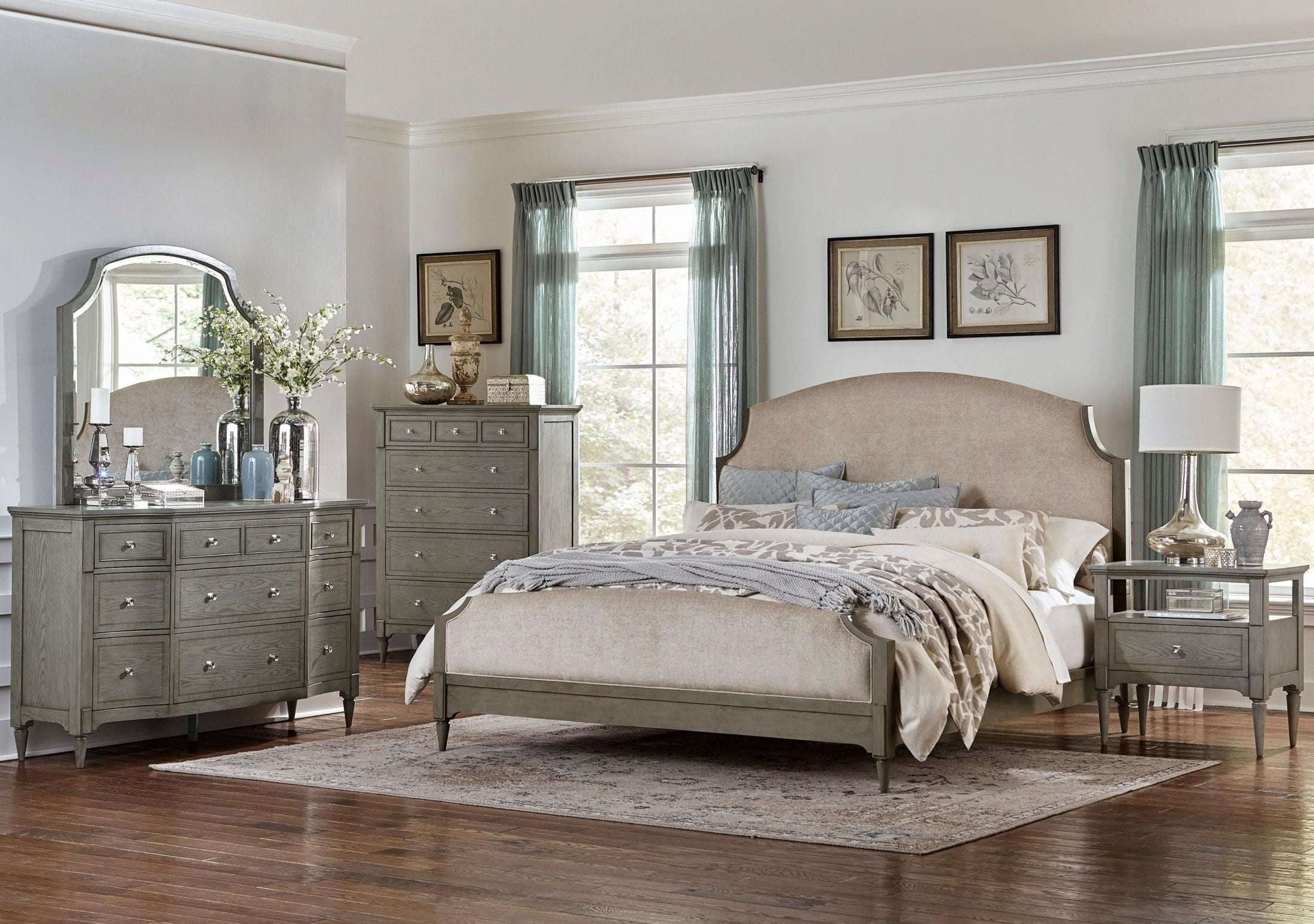 Albright Driftwood Gray Upholstered Bedroom Set From