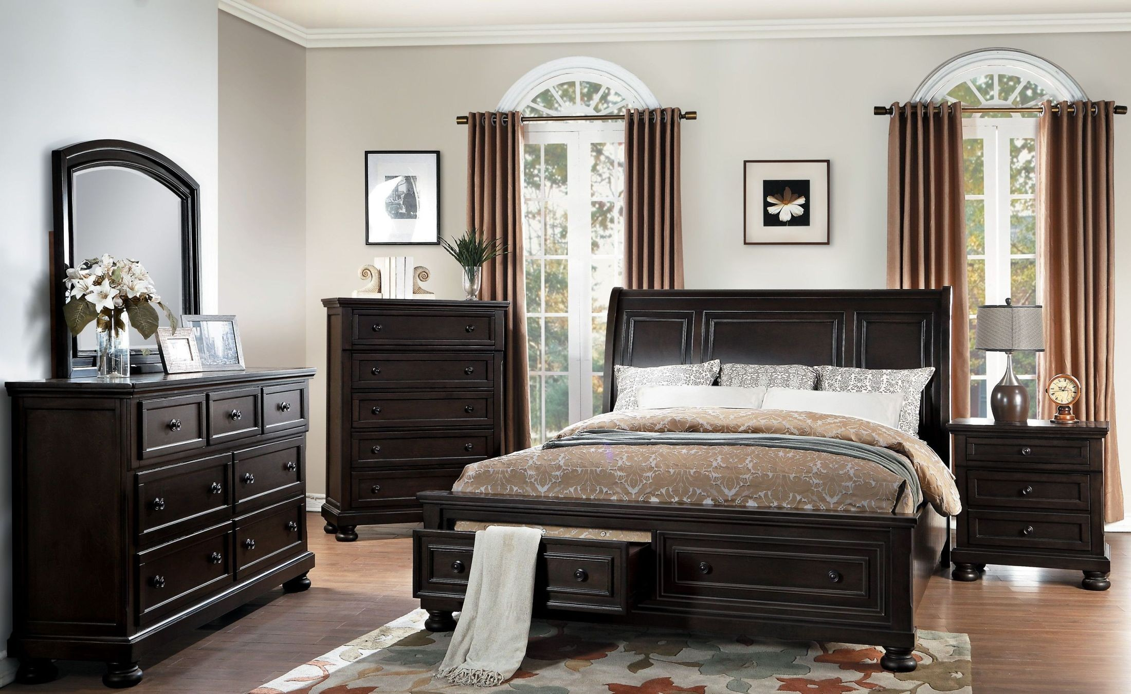 Begonia Gray Storage Platform Bedroom Set From Homelegance