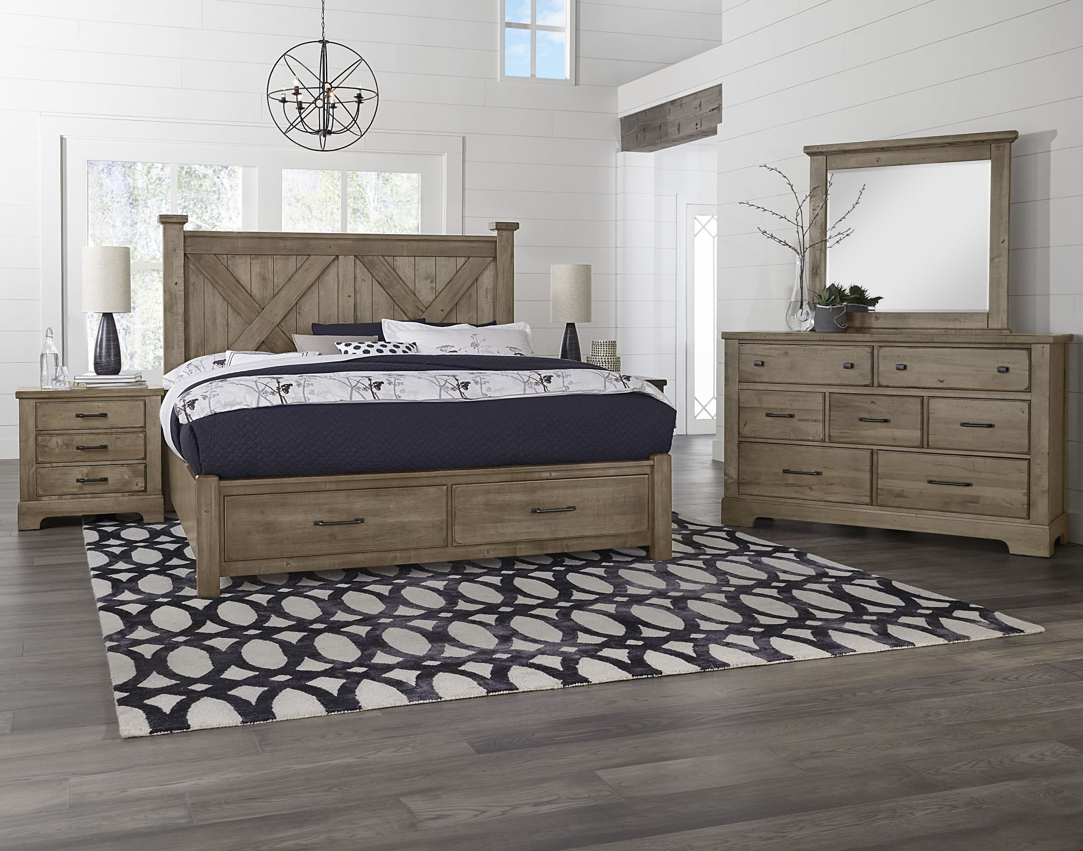 Cool Rustic Stone Grey X Style Storage Bedroom Set from ...