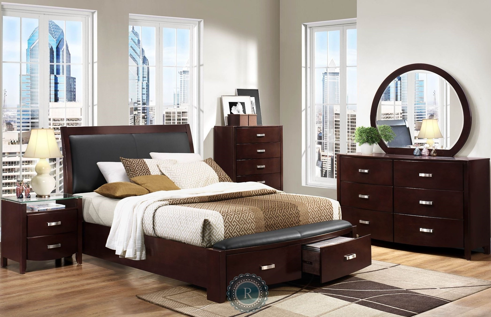 Lyric Espresso Sleigh Storage Bedroom Set from Homelegance 1737NC 1