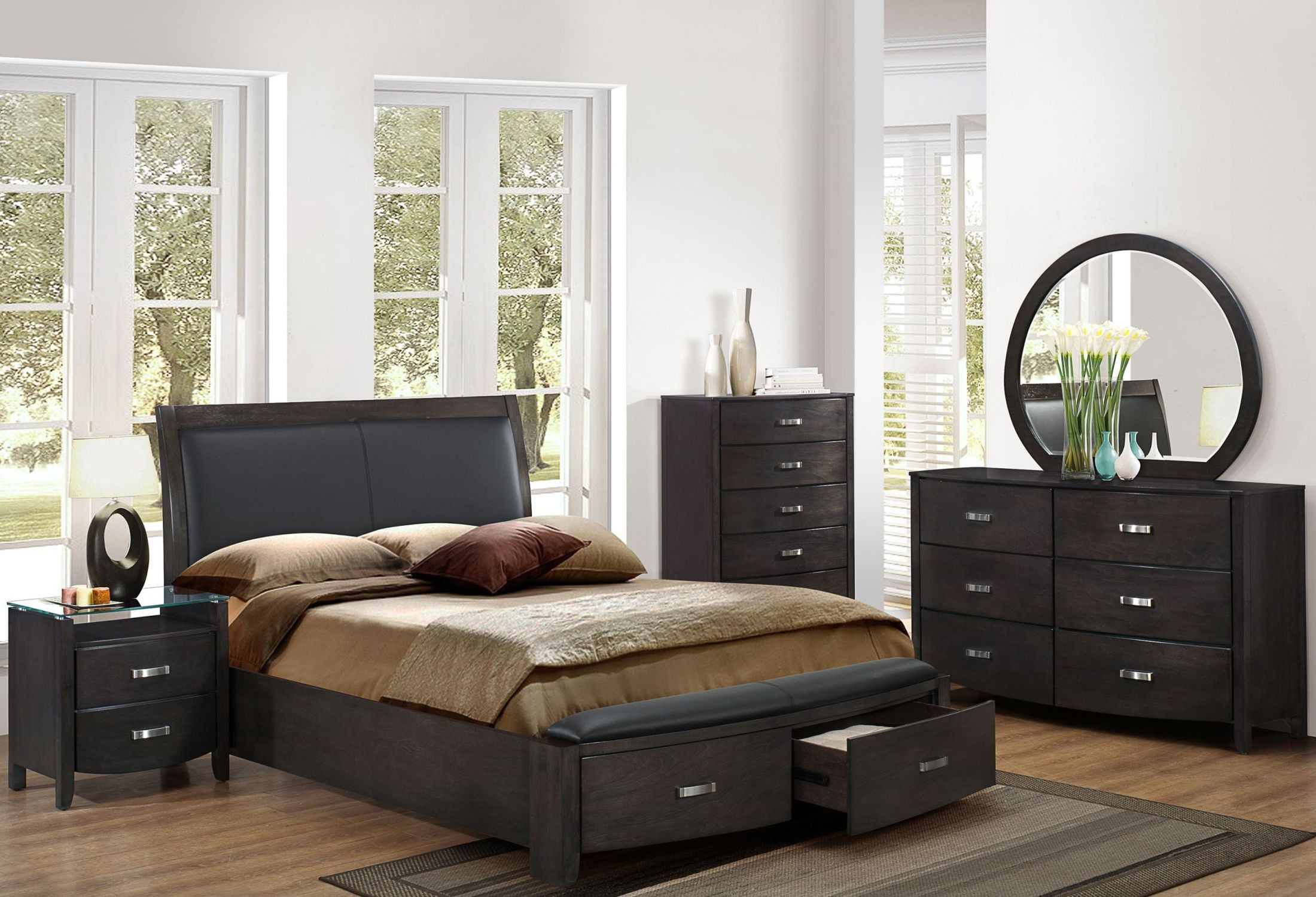 Lyric Grey Storage Upholstered Panel Bedroom Set From Homelegance