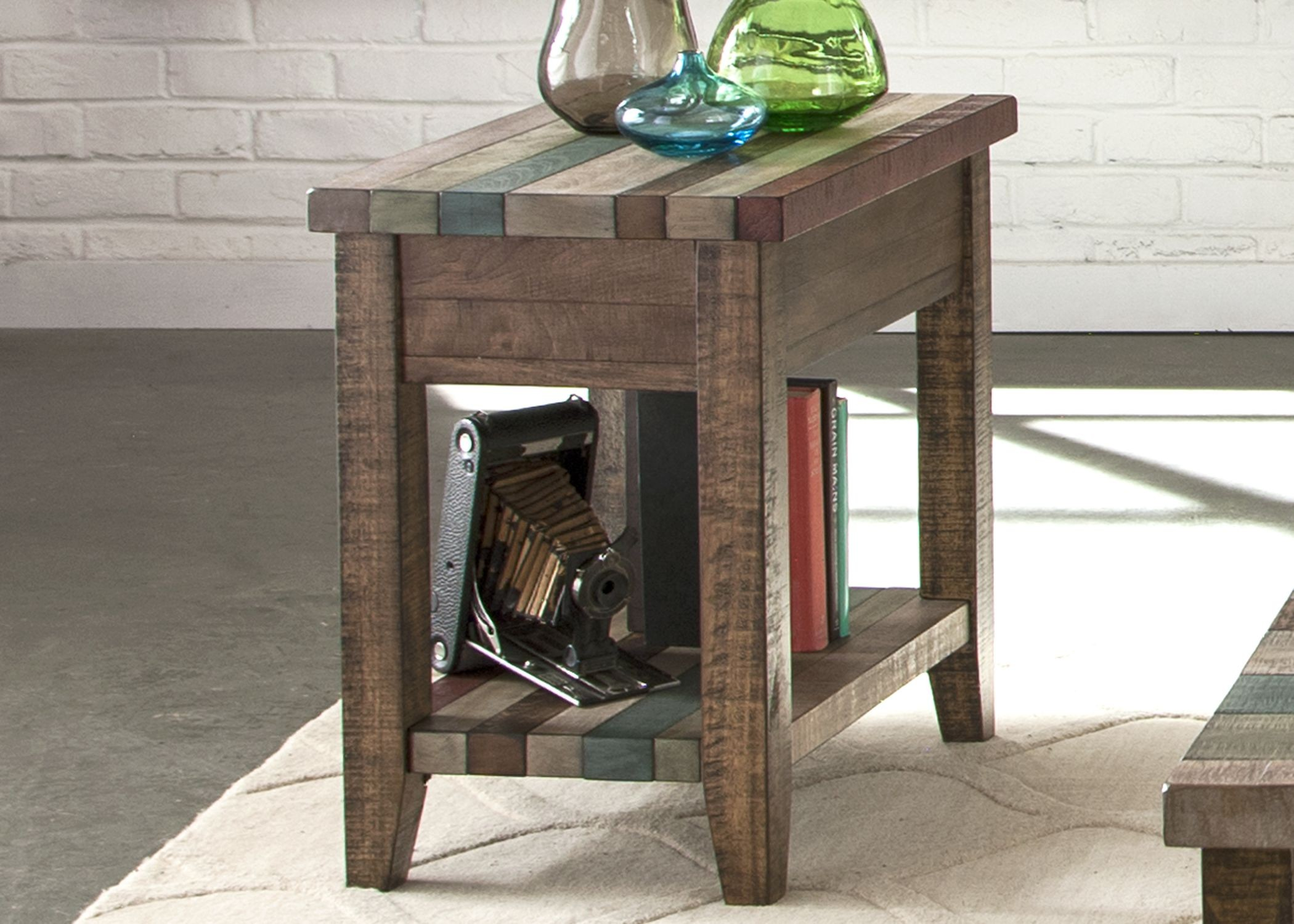 boho loft rustic brown chairside table from liberty