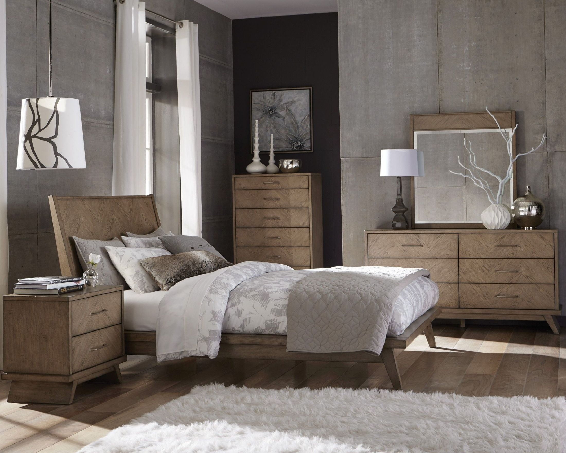 woven set queen modern pieces bedroom warm walnut homelegance porter