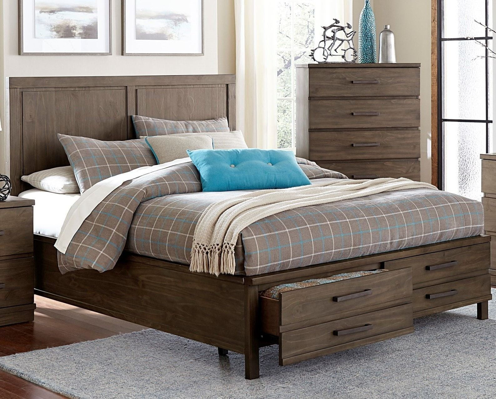 Bracco brown cal king platform storage bed from - California king storage bedroom sets ...
