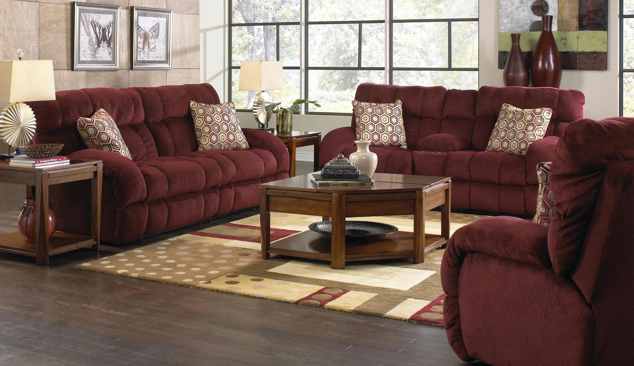 Siesta wine power reclining living room set from catnapper for Living room furniture sets made in usa