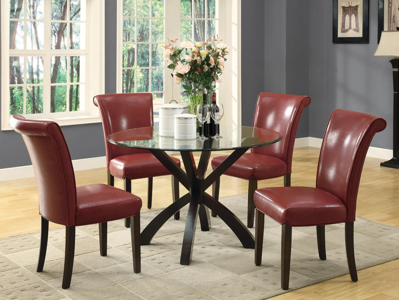 1667by Burgundy Side Chair Set Of 2 From Monarch I 1667by