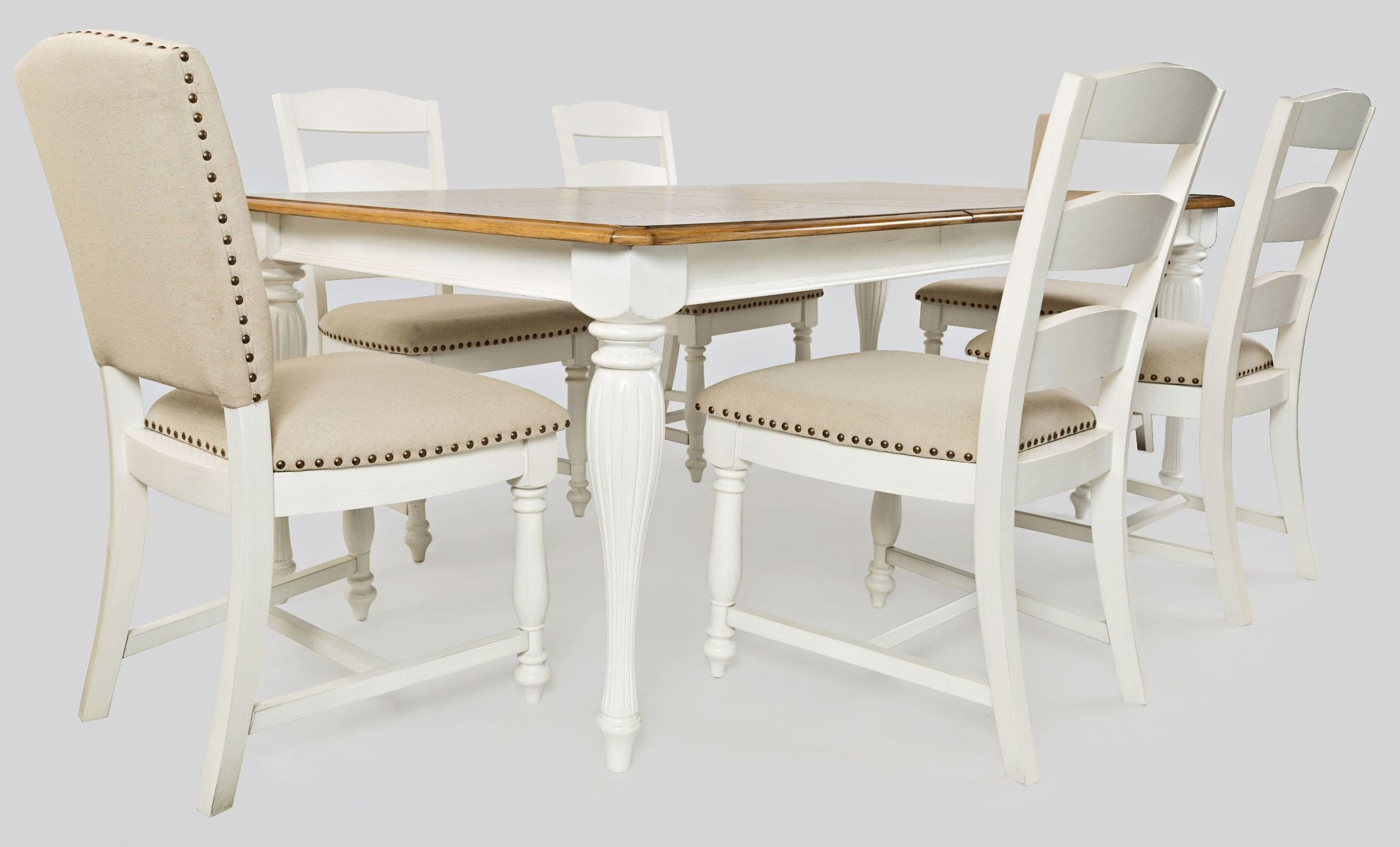Castle Hill Brown And Cream Extendable Dining Room Set