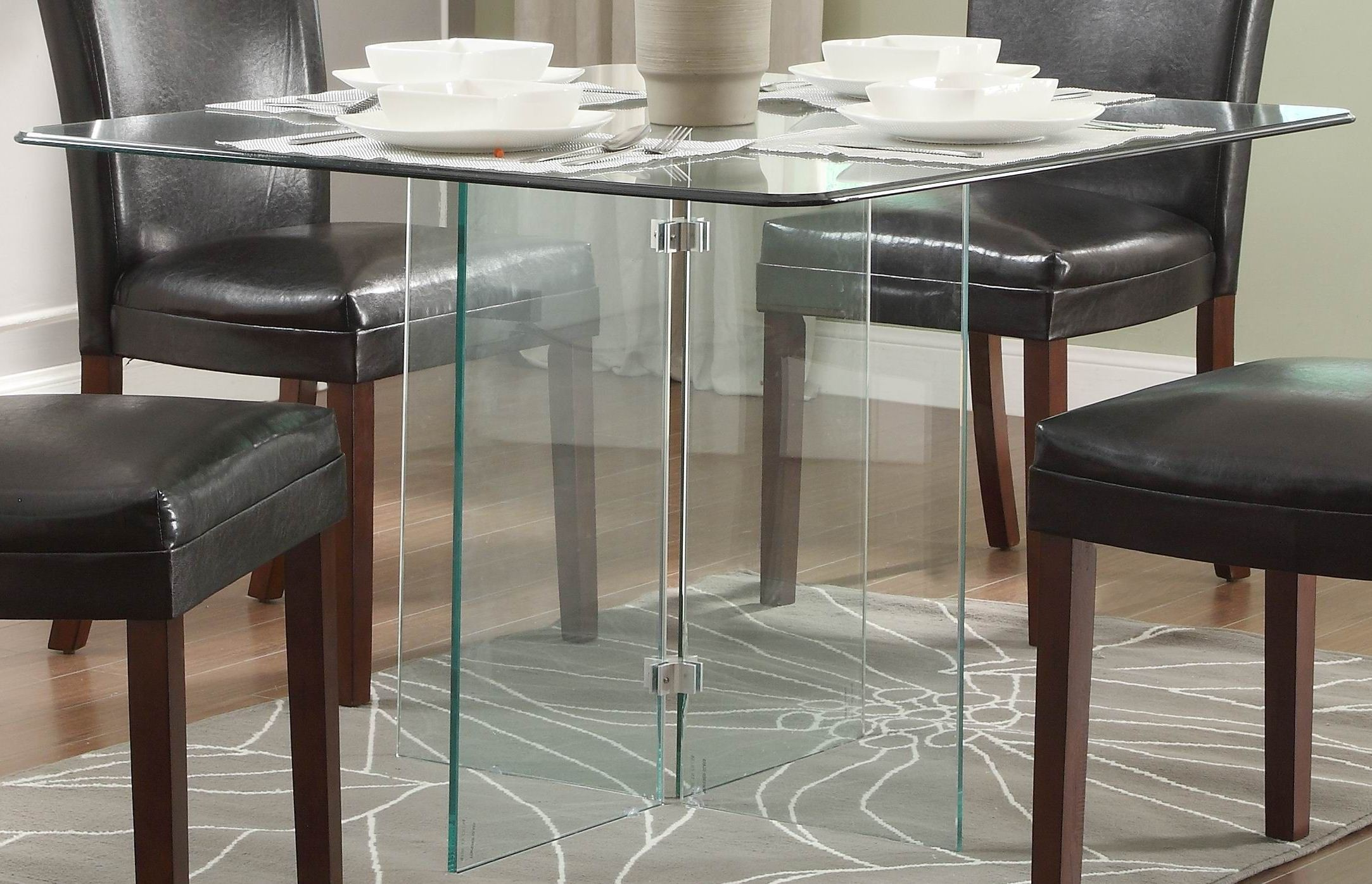alouette square glass dining table from homelegance 17811. Black Bedroom Furniture Sets. Home Design Ideas