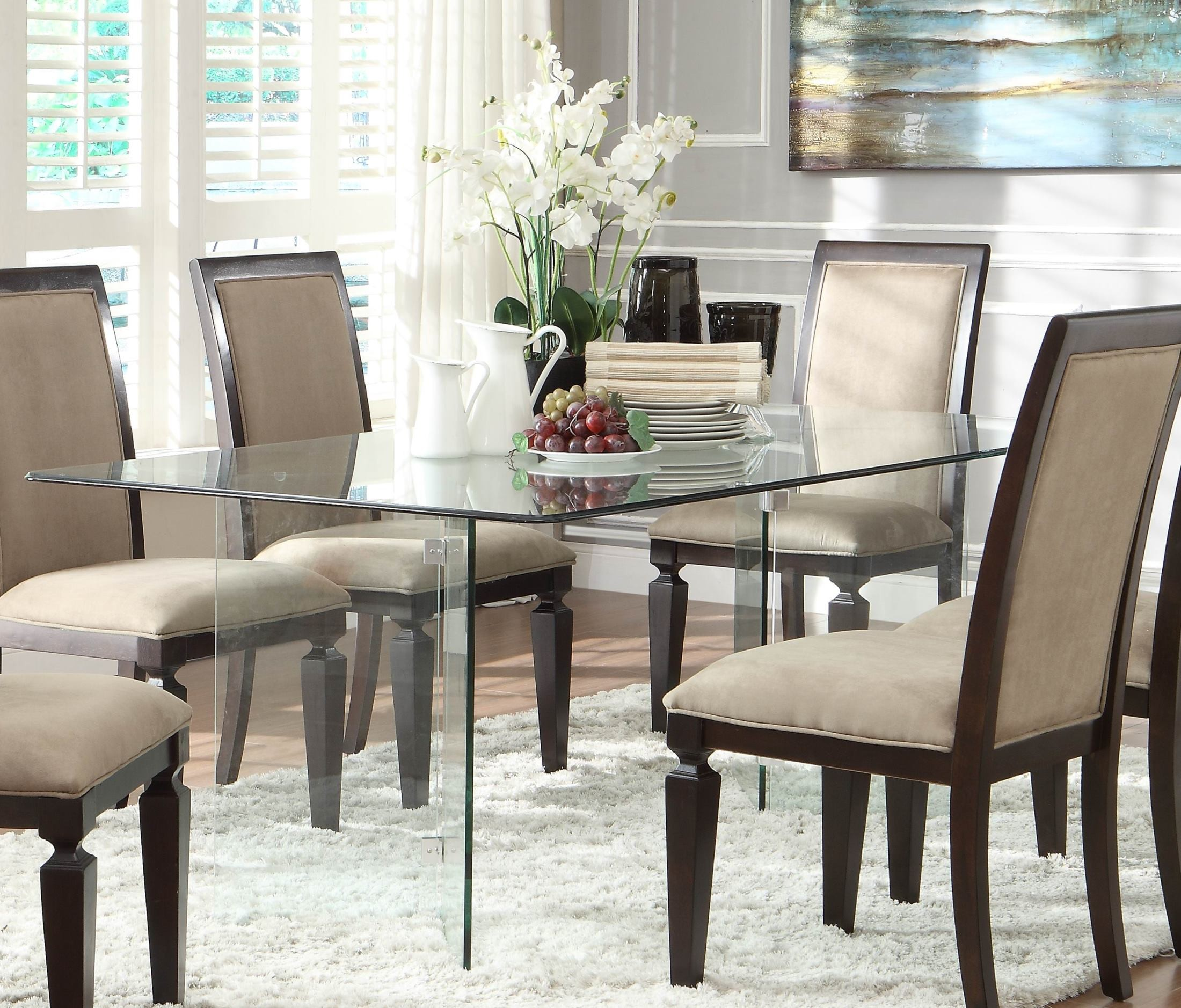 Glass Dining Furniture: Alouette Rectangular Glass Dining Table From Homelegance