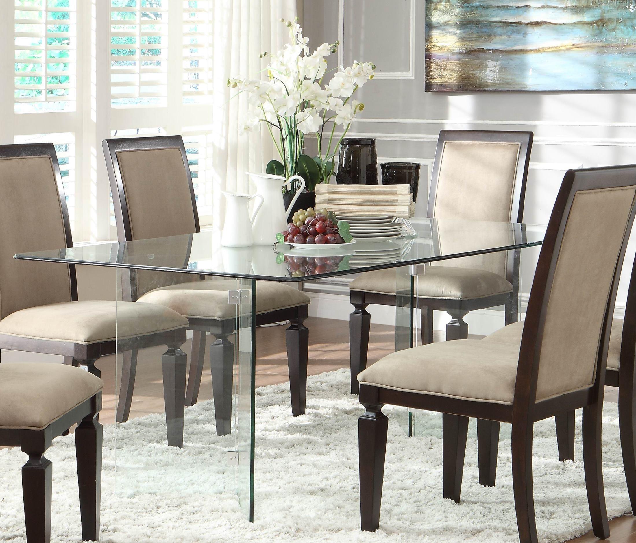 Alouette Rectangular Glass Dining Table From Homelegance